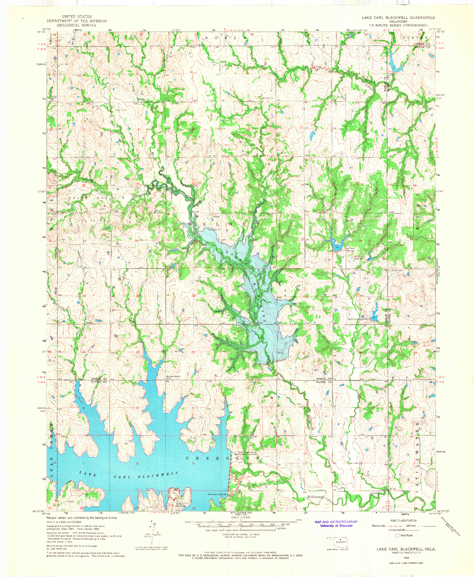 USGS 1:24000-SCALE QUADRANGLE FOR LAKE CARL BLACKWELL, OK 1966