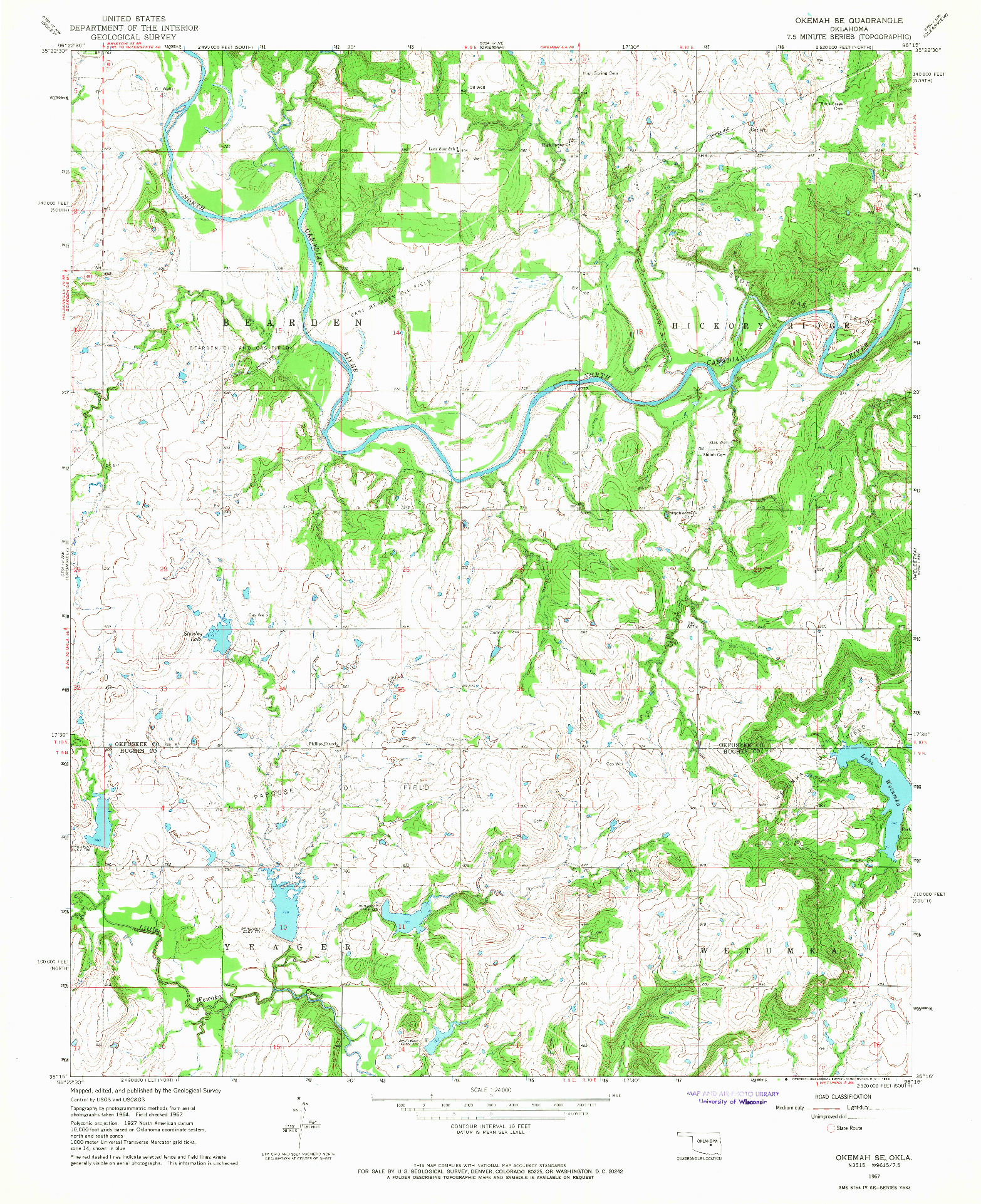 USGS 1:24000-SCALE QUADRANGLE FOR OKEMAH SE, OK 1967