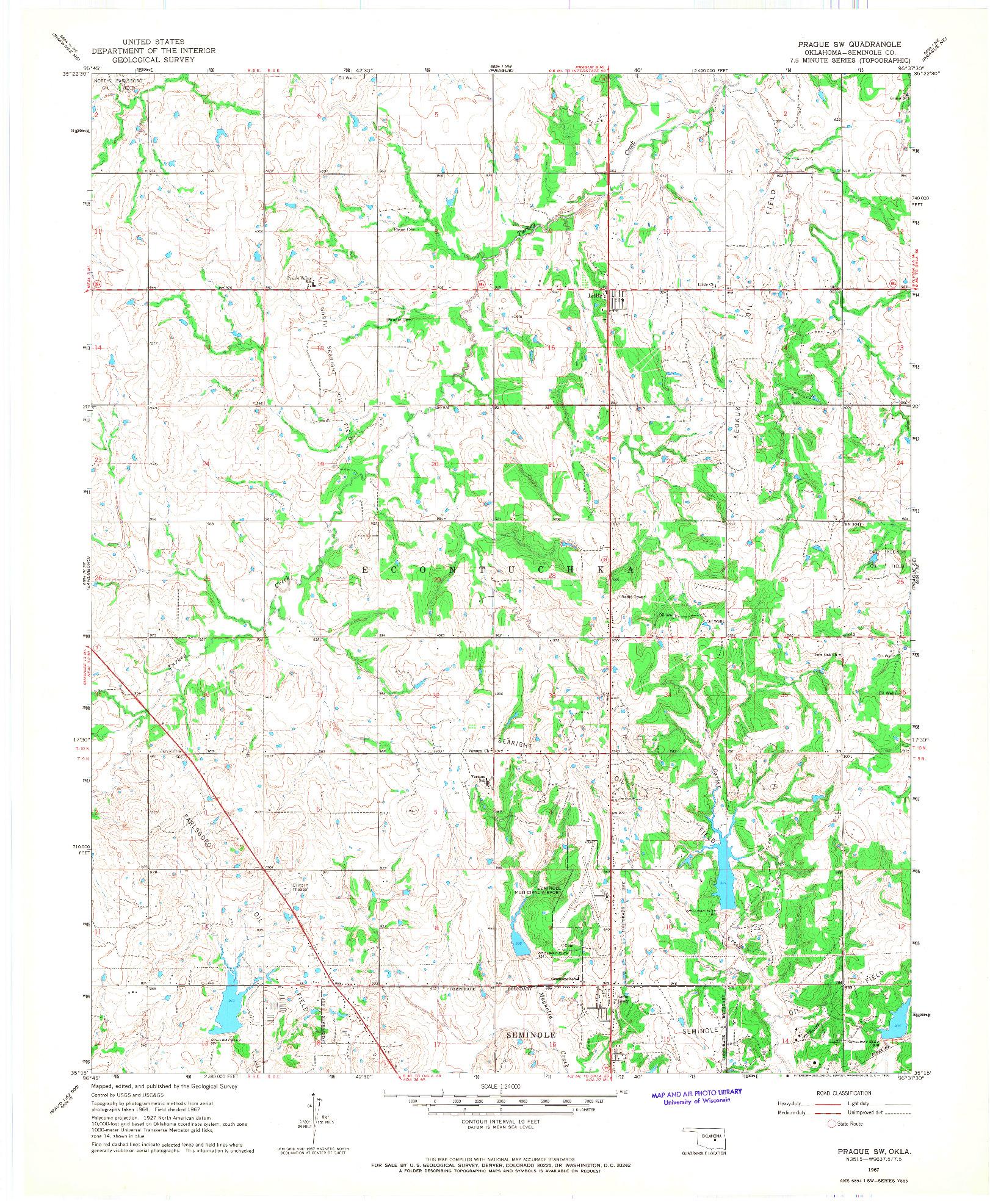 USGS 1:24000-SCALE QUADRANGLE FOR PRAGUE SW, OK 1967