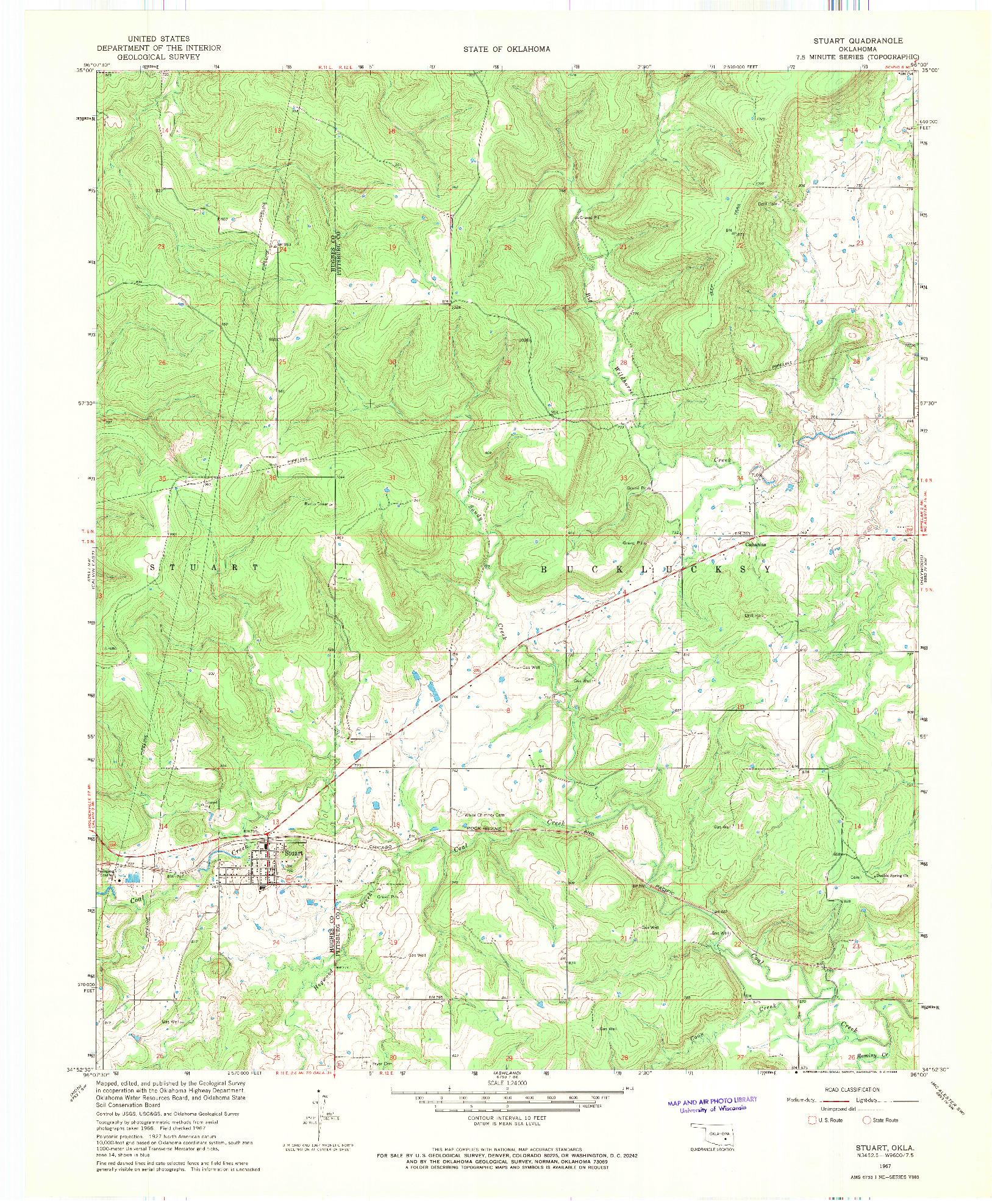 USGS 1:24000-SCALE QUADRANGLE FOR STUART, OK 1967