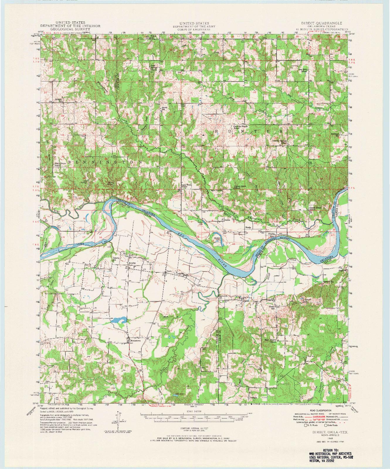 USGS 1:62500-SCALE QUADRANGLE FOR DIRECT, OK 1948