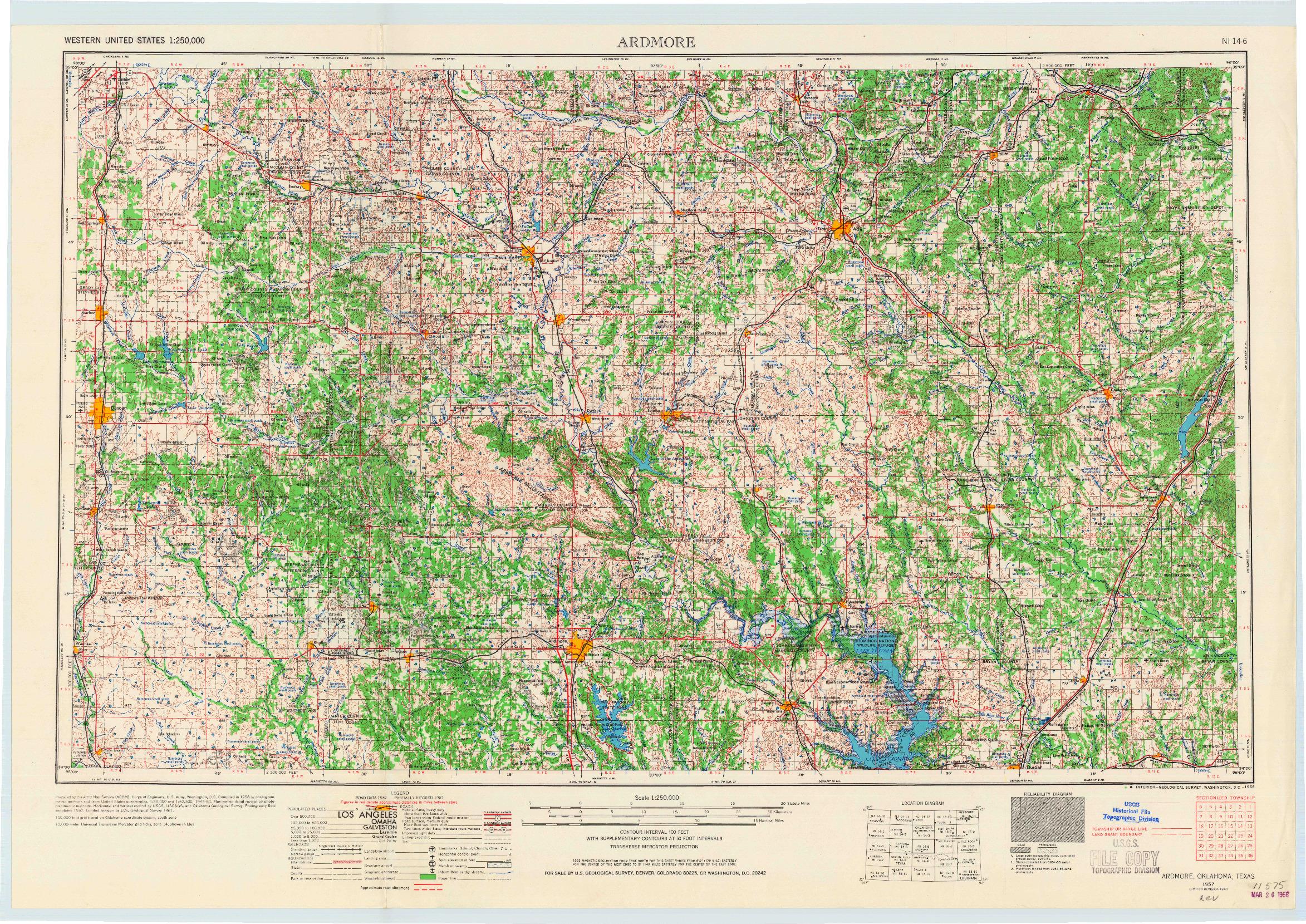 USGS 1:250000-SCALE QUADRANGLE FOR ARDMORE, OK 1957