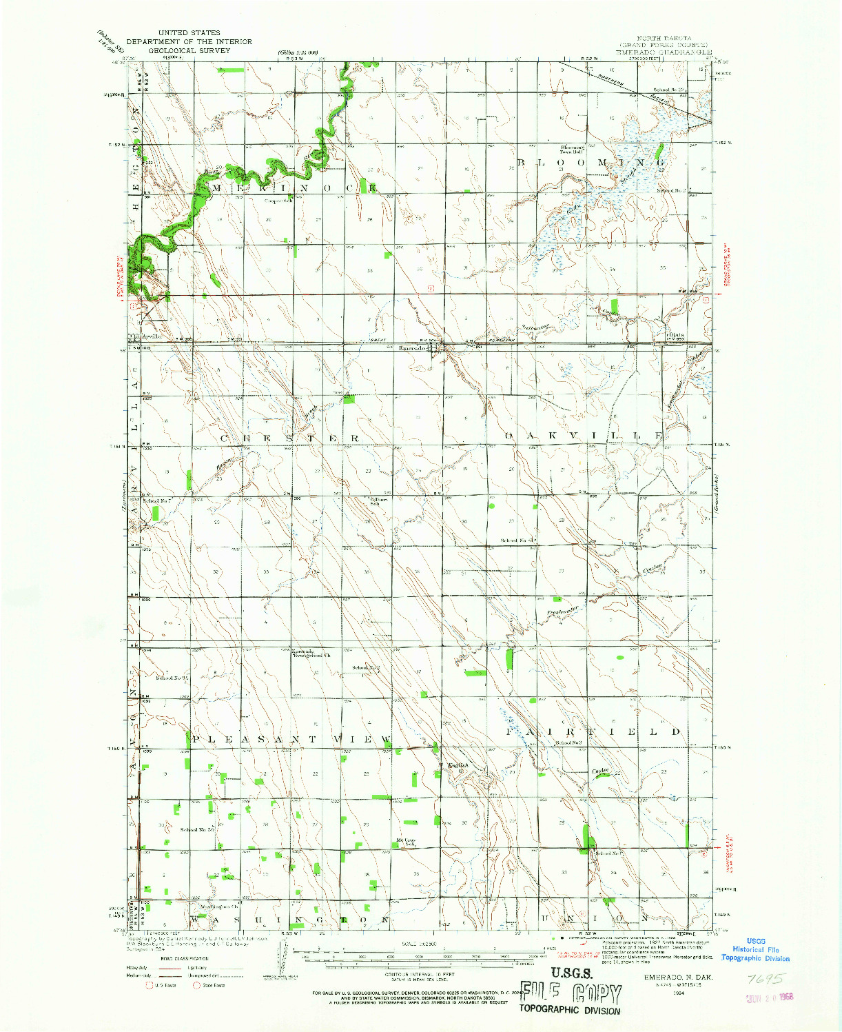 USGS 1:62500-SCALE QUADRANGLE FOR EMERADO, ND 1934