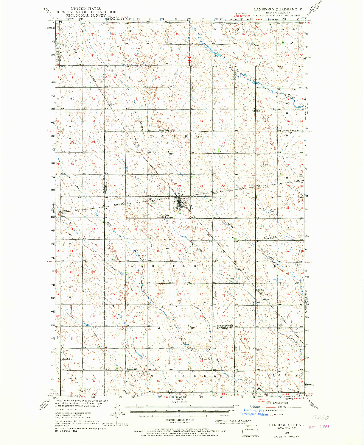 USGS 1:62500-SCALE QUADRANGLE FOR LANSFORD, ND 1948