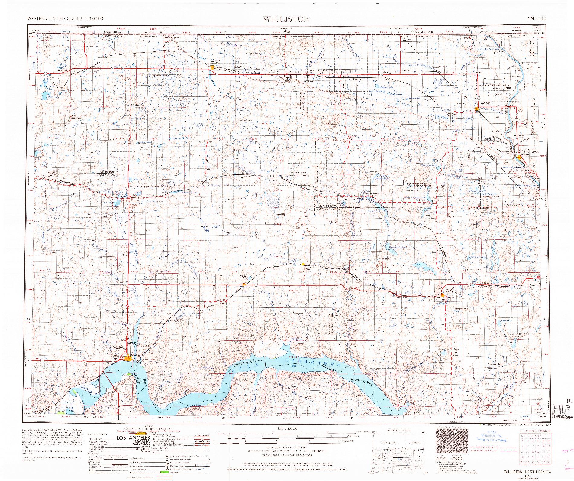 USGS 1:250000-SCALE QUADRANGLE FOR WILLISTON, ND 1953