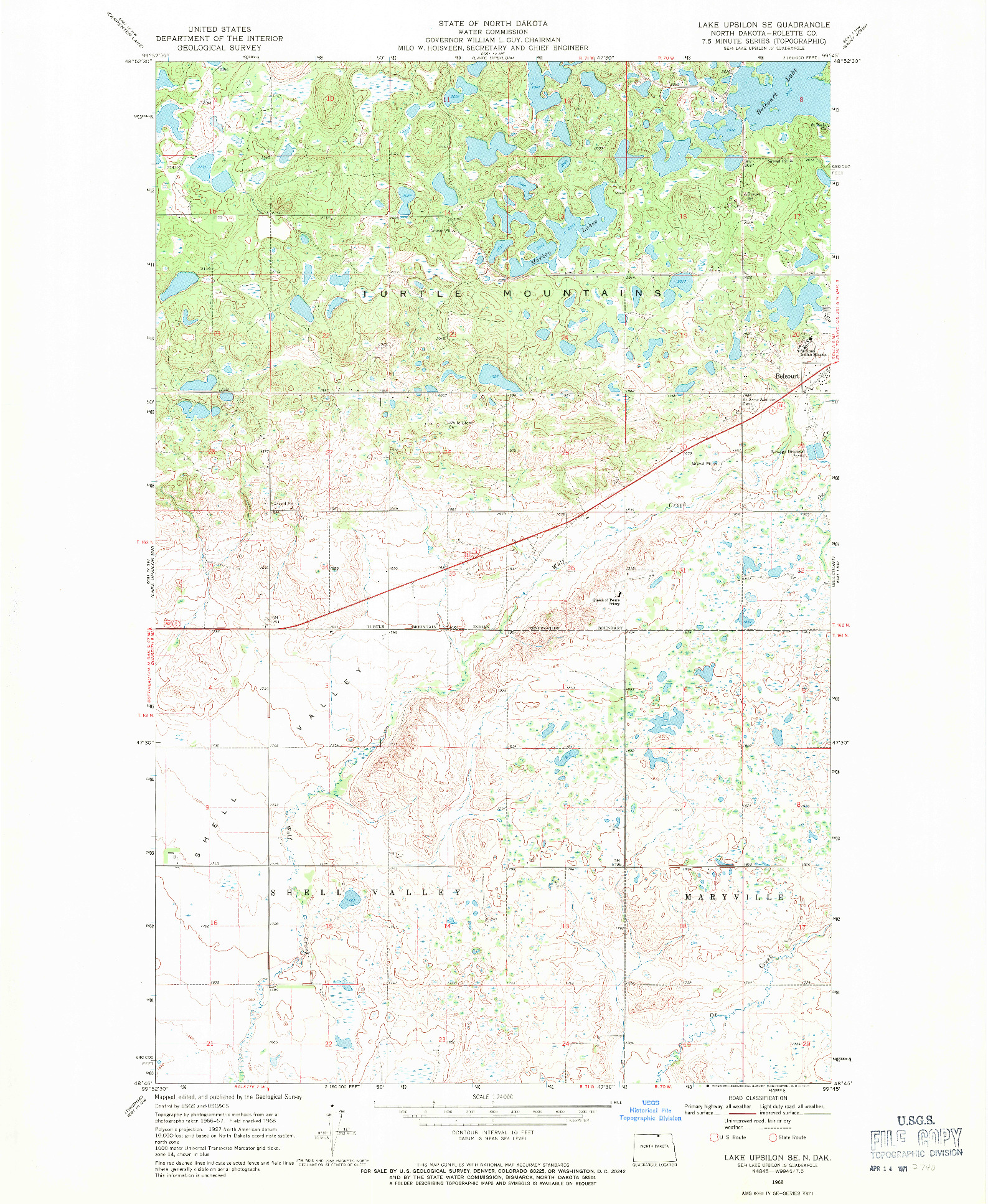 USGS 1:24000-SCALE QUADRANGLE FOR LAKE UPSILON SE, ND 1968