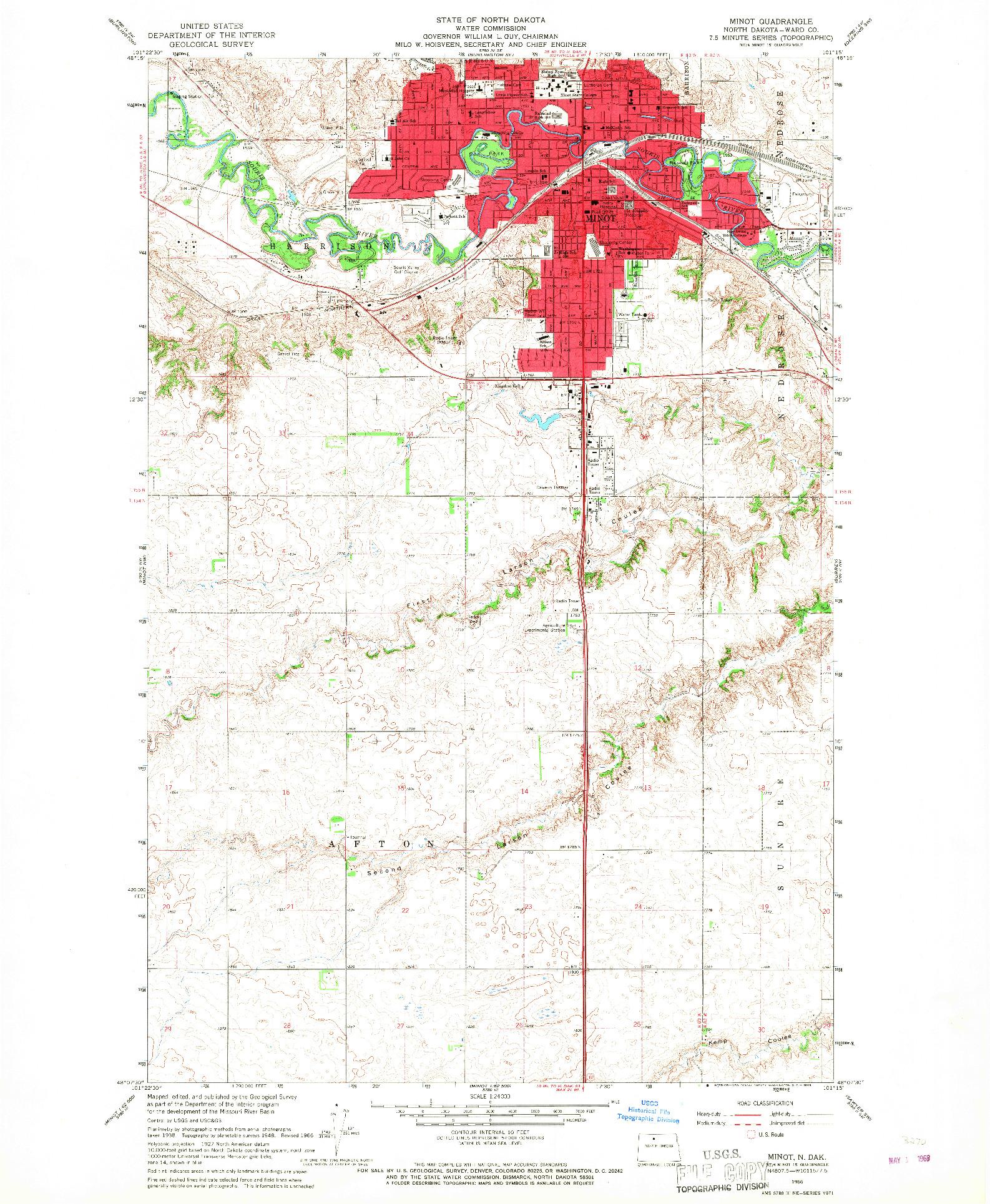 USGS 1:24000-SCALE QUADRANGLE FOR MINOT, ND 1966