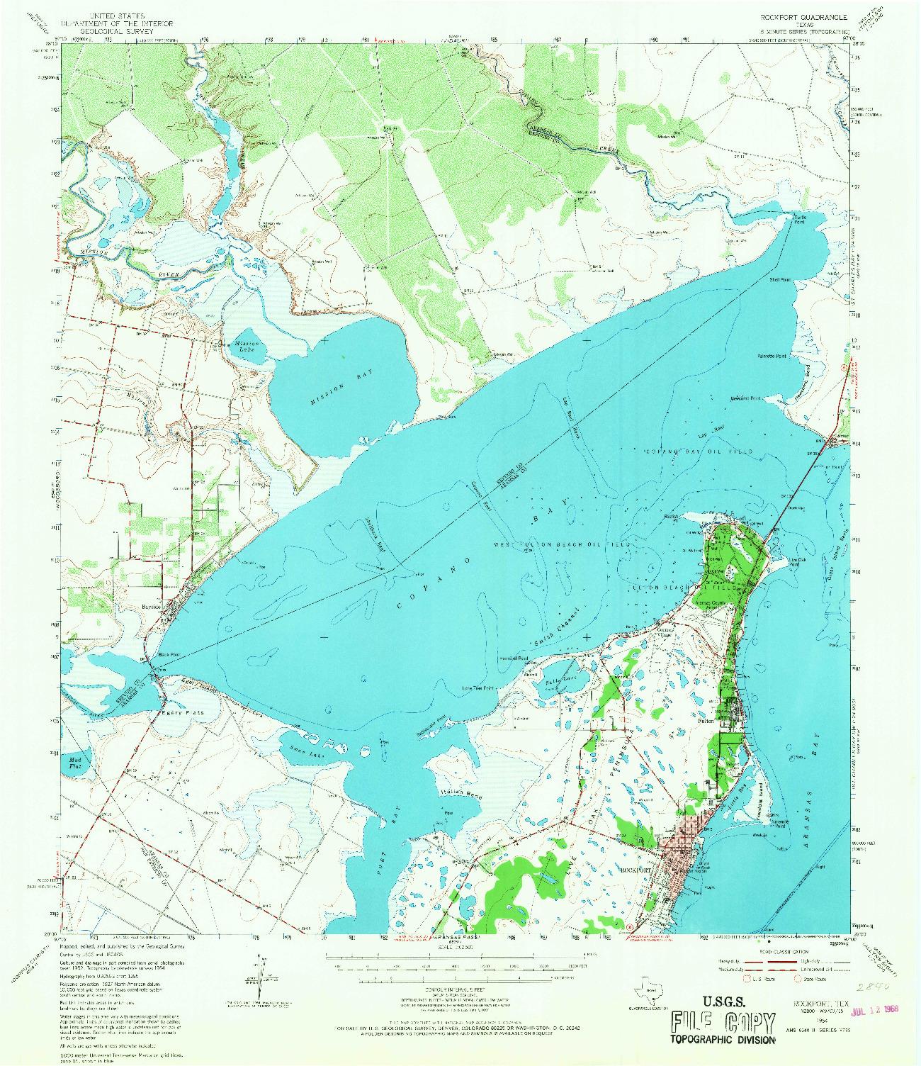 USGS 1:62500-SCALE QUADRANGLE FOR ROCKPORT, TX 1954
