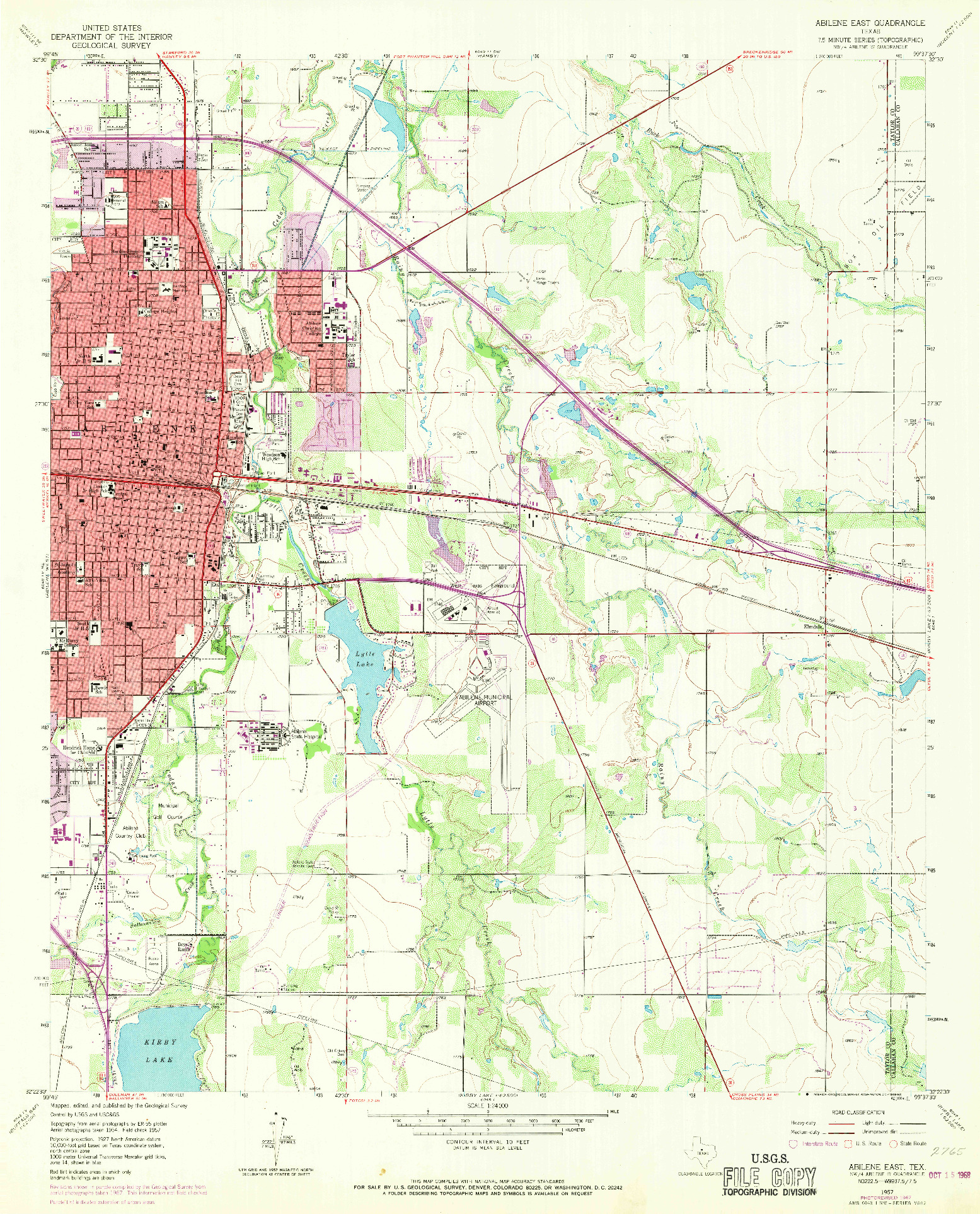 USGS 1:24000-SCALE QUADRANGLE FOR ABILENE EAST, TX 1957