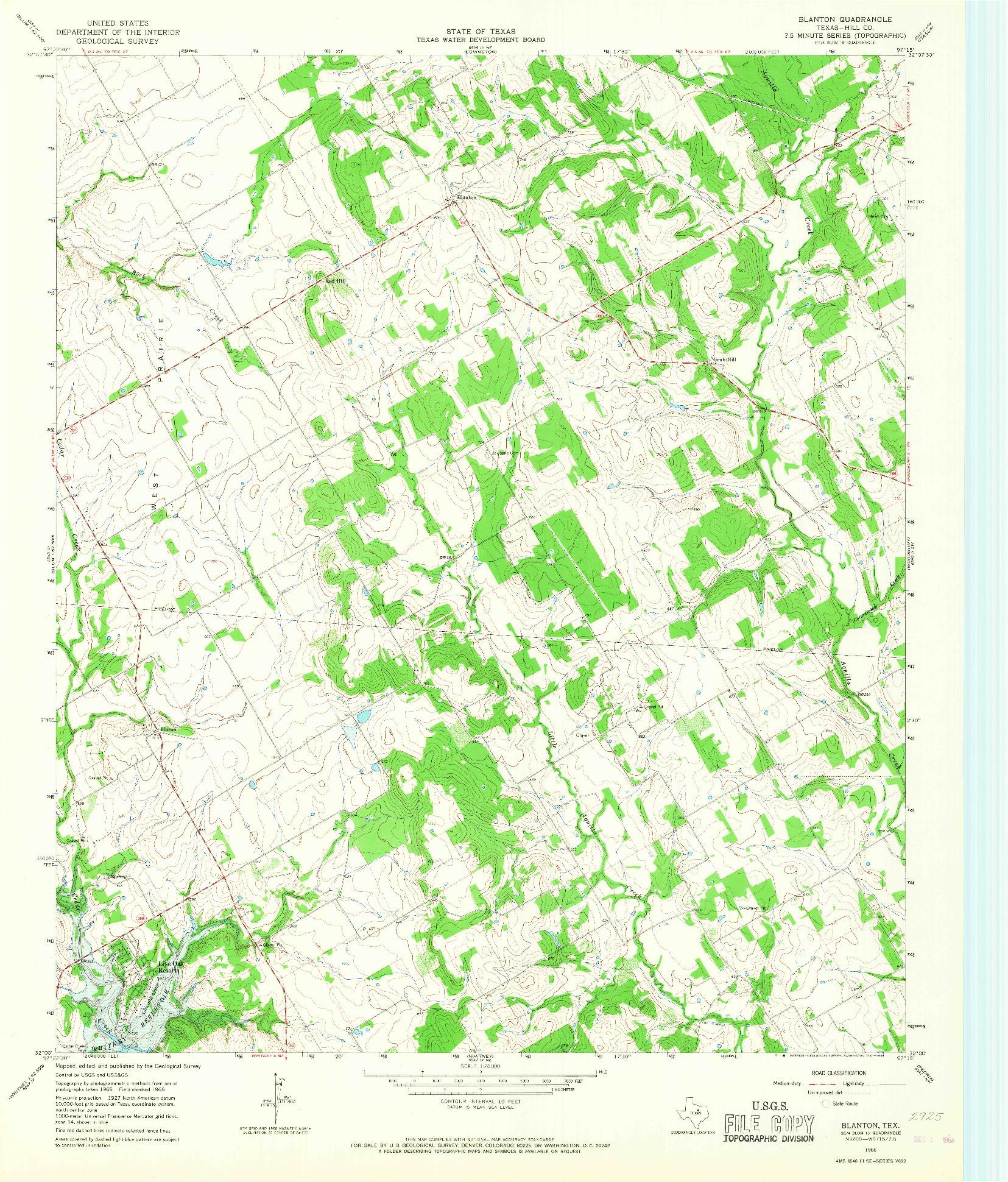 USGS 1:24000-SCALE QUADRANGLE FOR BLANTON, TX 1966