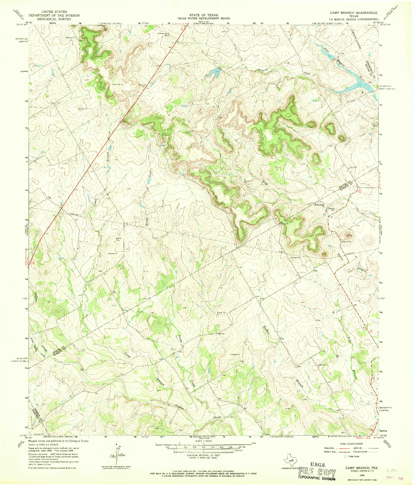 USGS 1:24000-SCALE QUADRANGLE FOR CAMP BRANCH, TX 1966