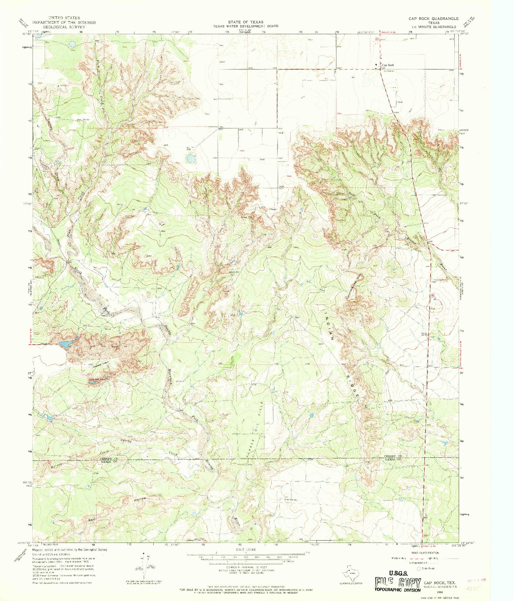 USGS 1:24000-SCALE QUADRANGLE FOR CAP ROCK, TX 1966