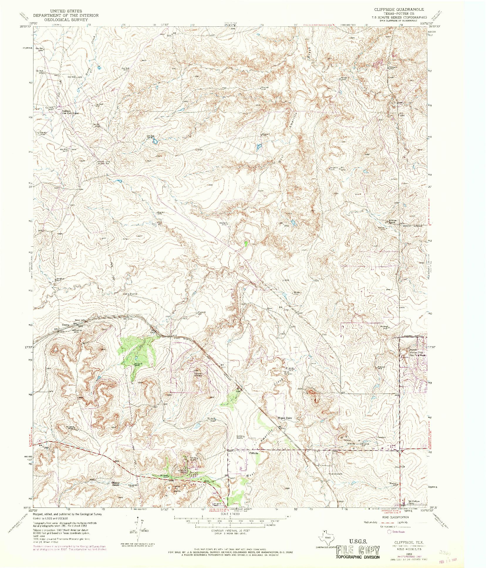 USGS 1:24000-SCALE QUADRANGLE FOR CLIFFSIDE, TX 1953