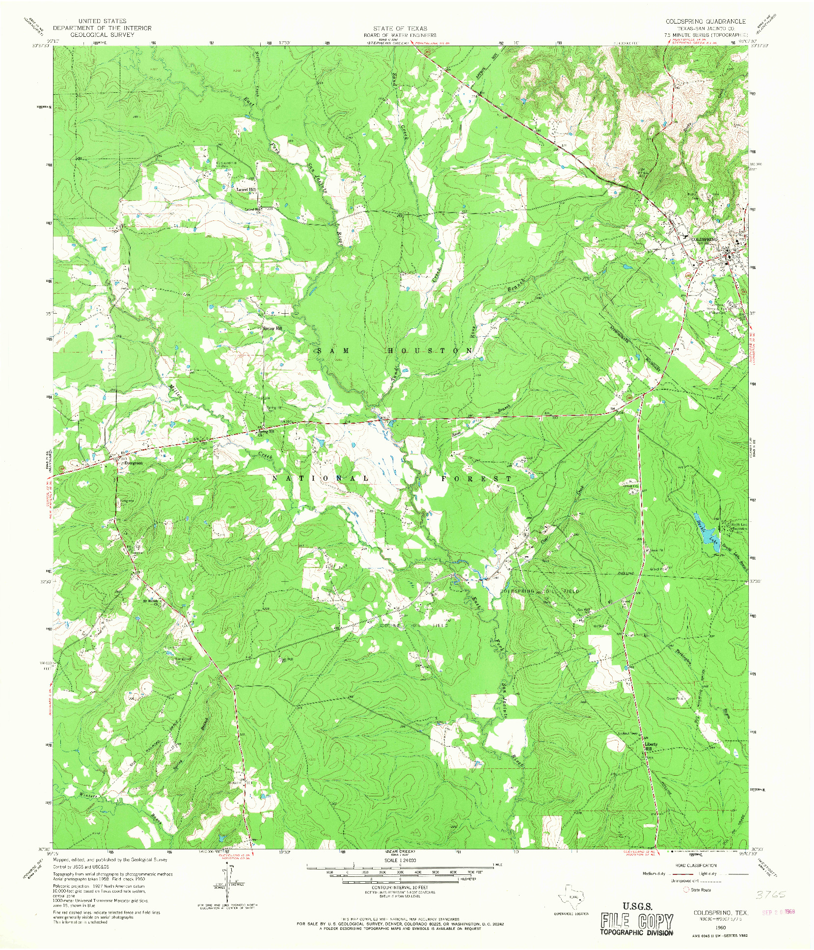 USGS 1:24000-SCALE QUADRANGLE FOR COLDSPRING, TX 1960