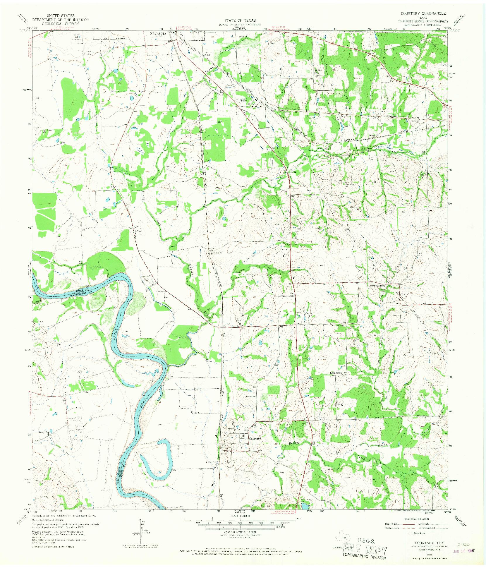 USGS 1:24000-SCALE QUADRANGLE FOR COURTNEY, TX 1958