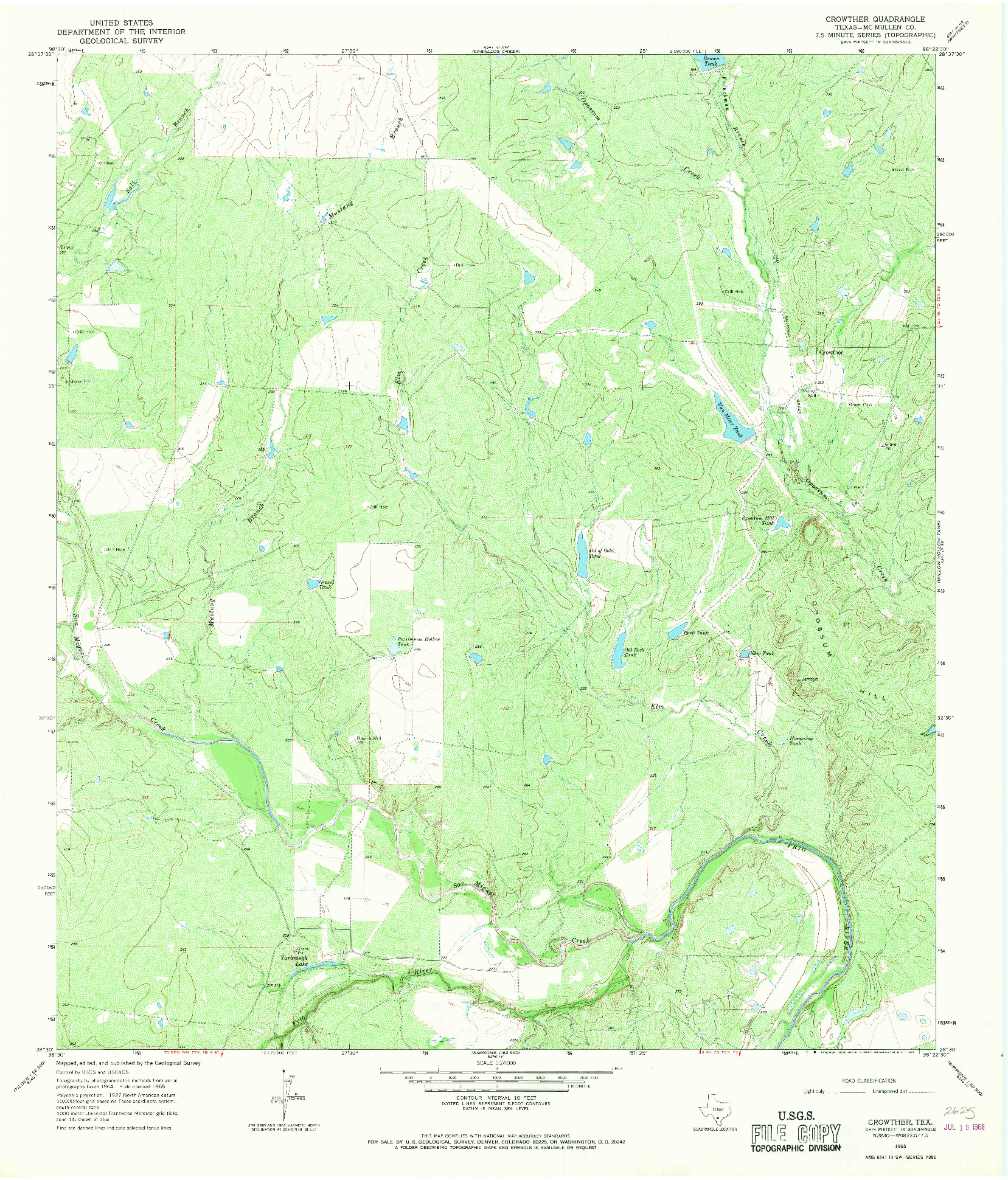 USGS 1:24000-SCALE QUADRANGLE FOR CROWTHER, TX 1965