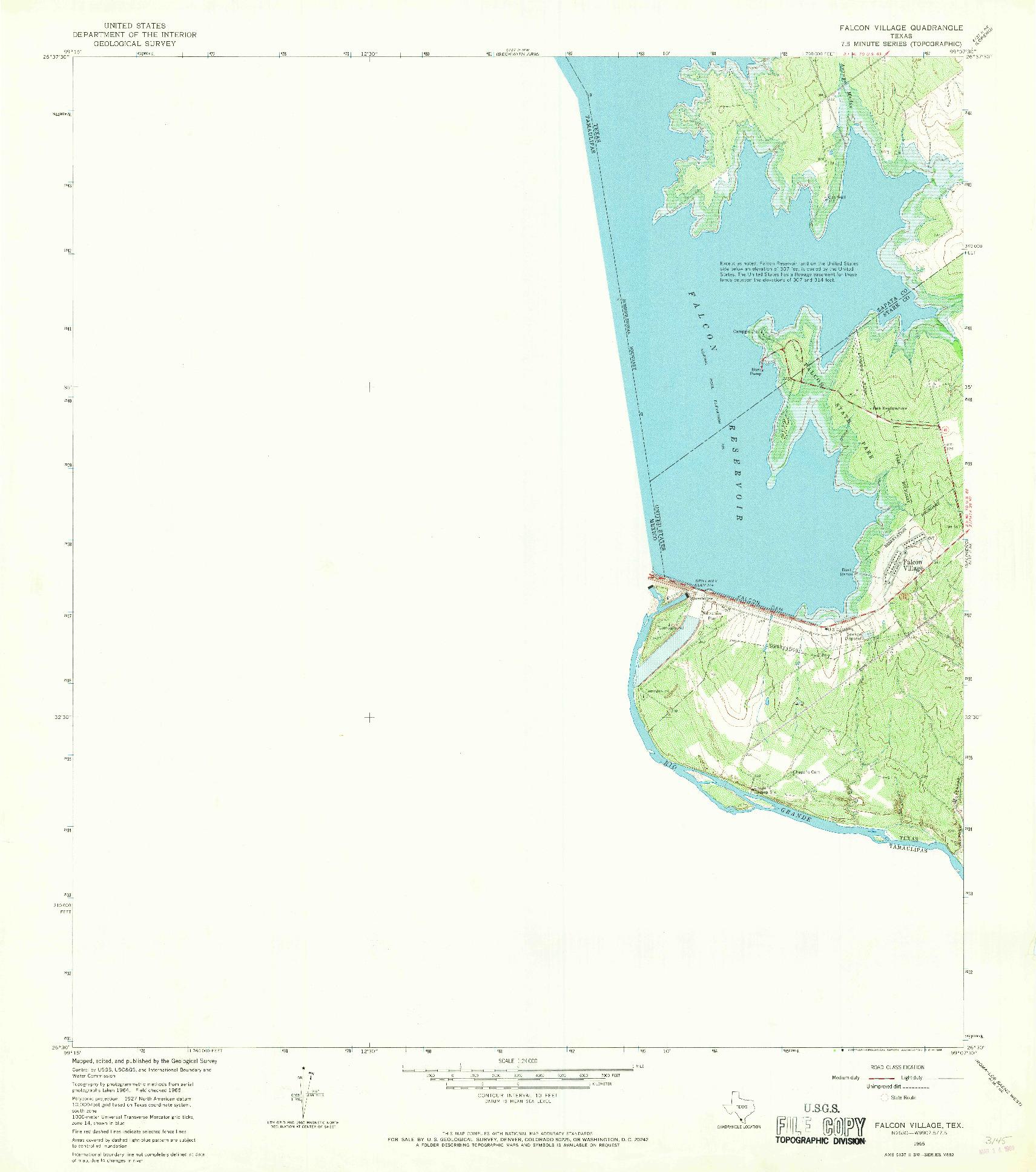 USGS 1:24000-SCALE QUADRANGLE FOR FALCON VILLAGE, TX 1965