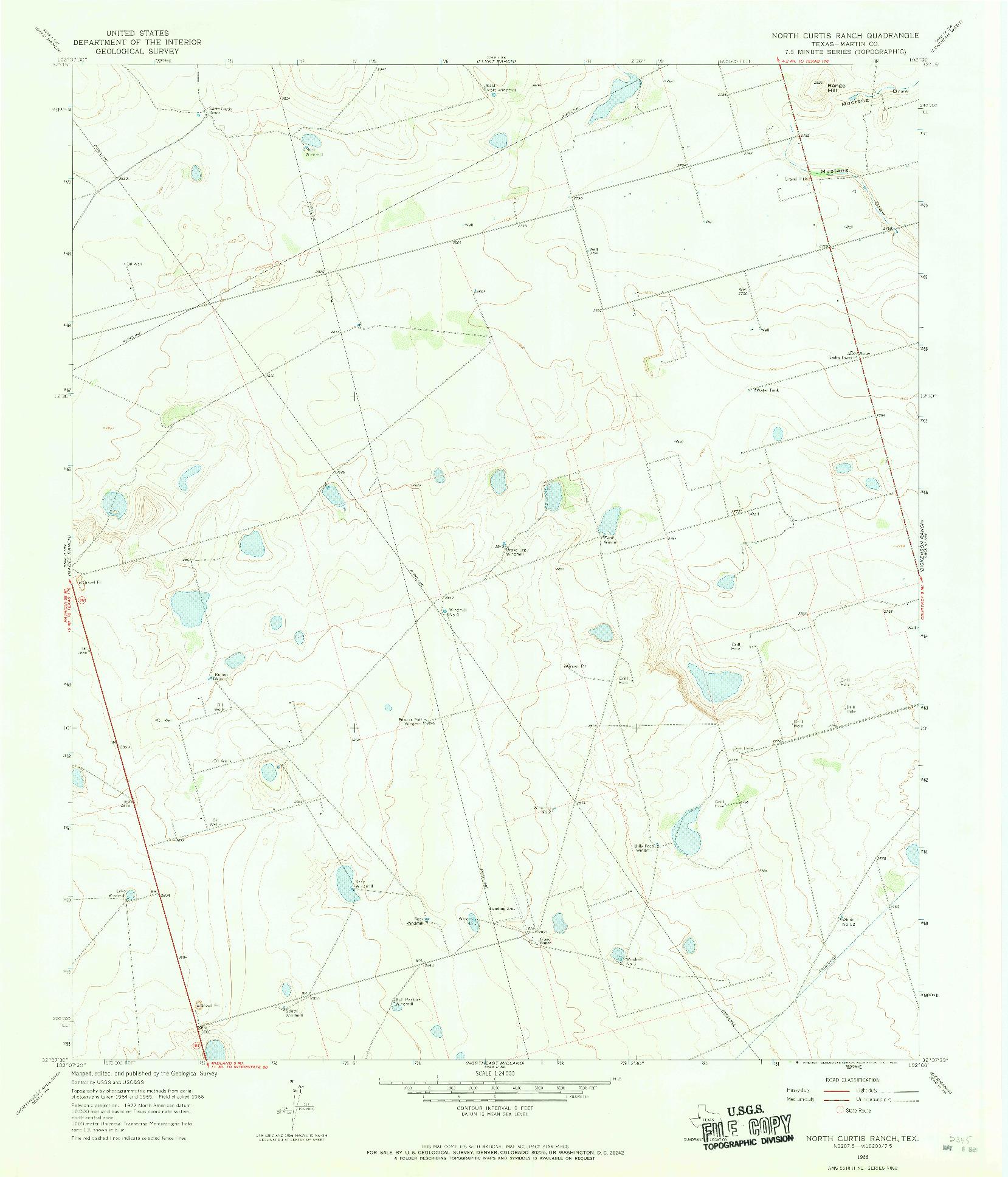 USGS 1:24000-SCALE QUADRANGLE FOR NORTH CURTIS RANCH, TX 1966