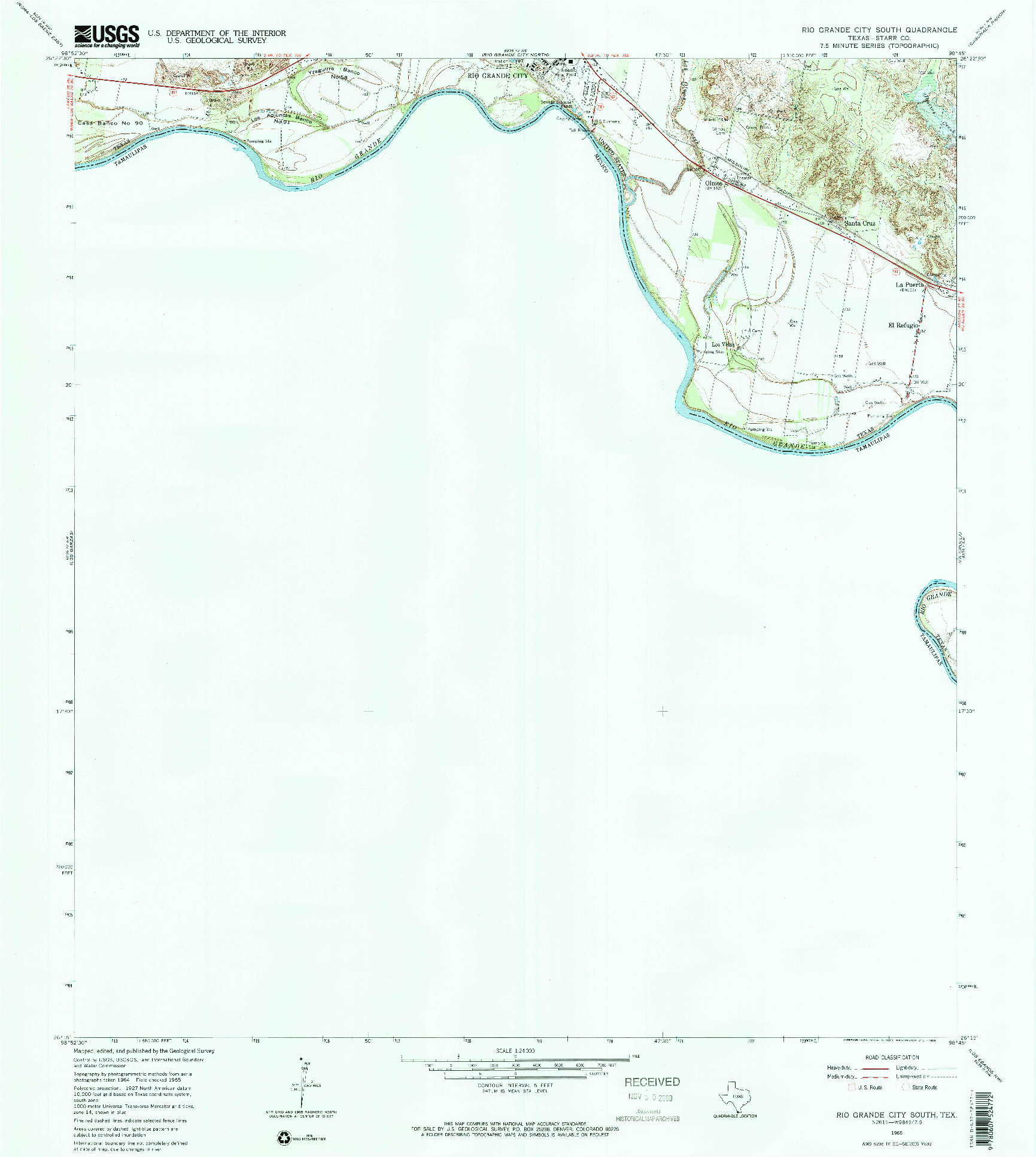 USGS 1:24000-SCALE QUADRANGLE FOR RIO GRANDE CITY SOUTH, TX 1965
