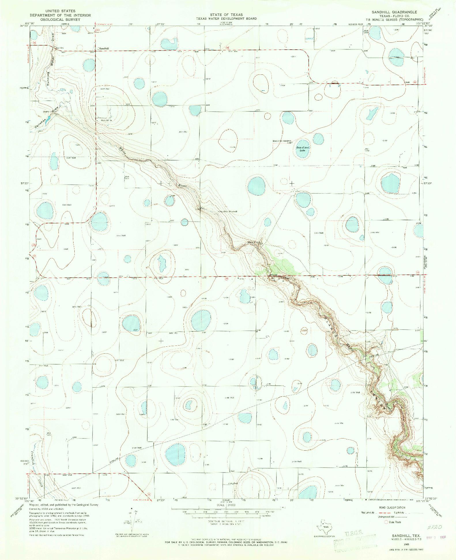 USGS 1:24000-SCALE QUADRANGLE FOR SANDHILL, TX 1965