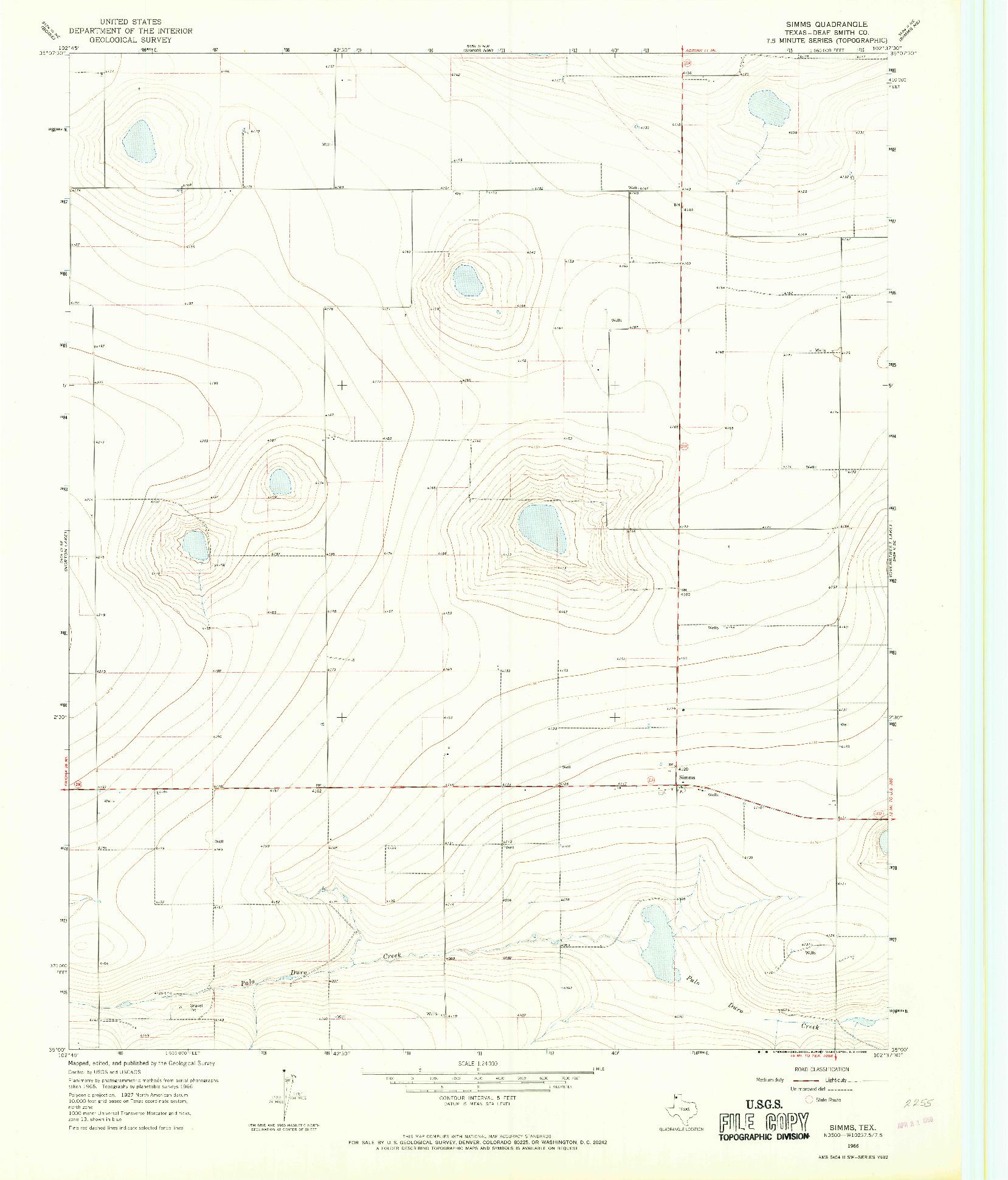 USGS 1:24000-SCALE QUADRANGLE FOR SIMMS, TX 1966