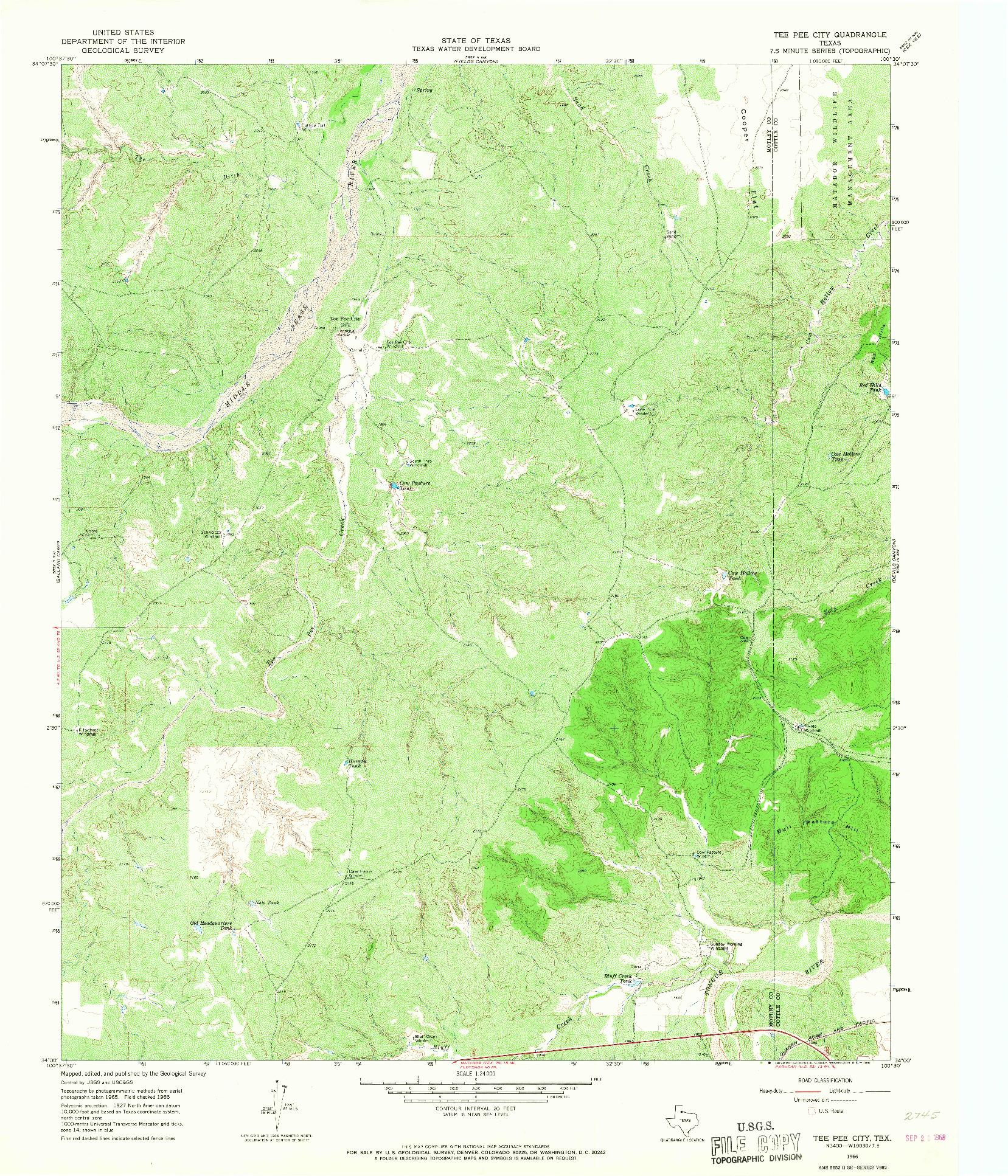 USGS 1:24000-SCALE QUADRANGLE FOR TEE PEE CITY, TX 1966