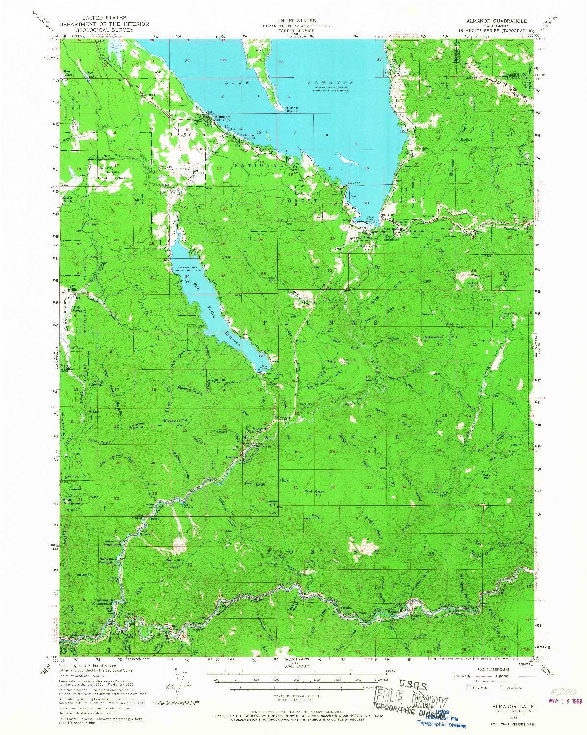 USGS 1:62500-SCALE QUADRANGLE FOR ALMANOR, CA 1955