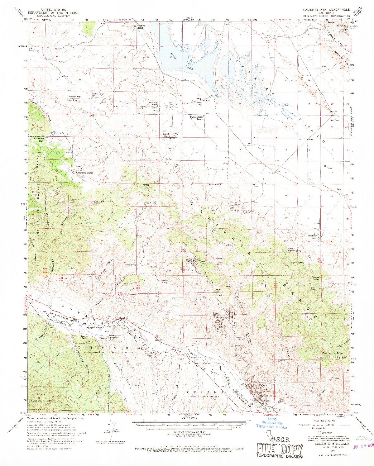 USGS 1:62500-SCALE QUADRANGLE FOR CALIENTE MOUNTAIN, CA 1959