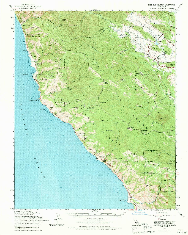 USGS 1:62500-SCALE QUADRANGLE FOR CAPE SAN MARTIN, CA 1961