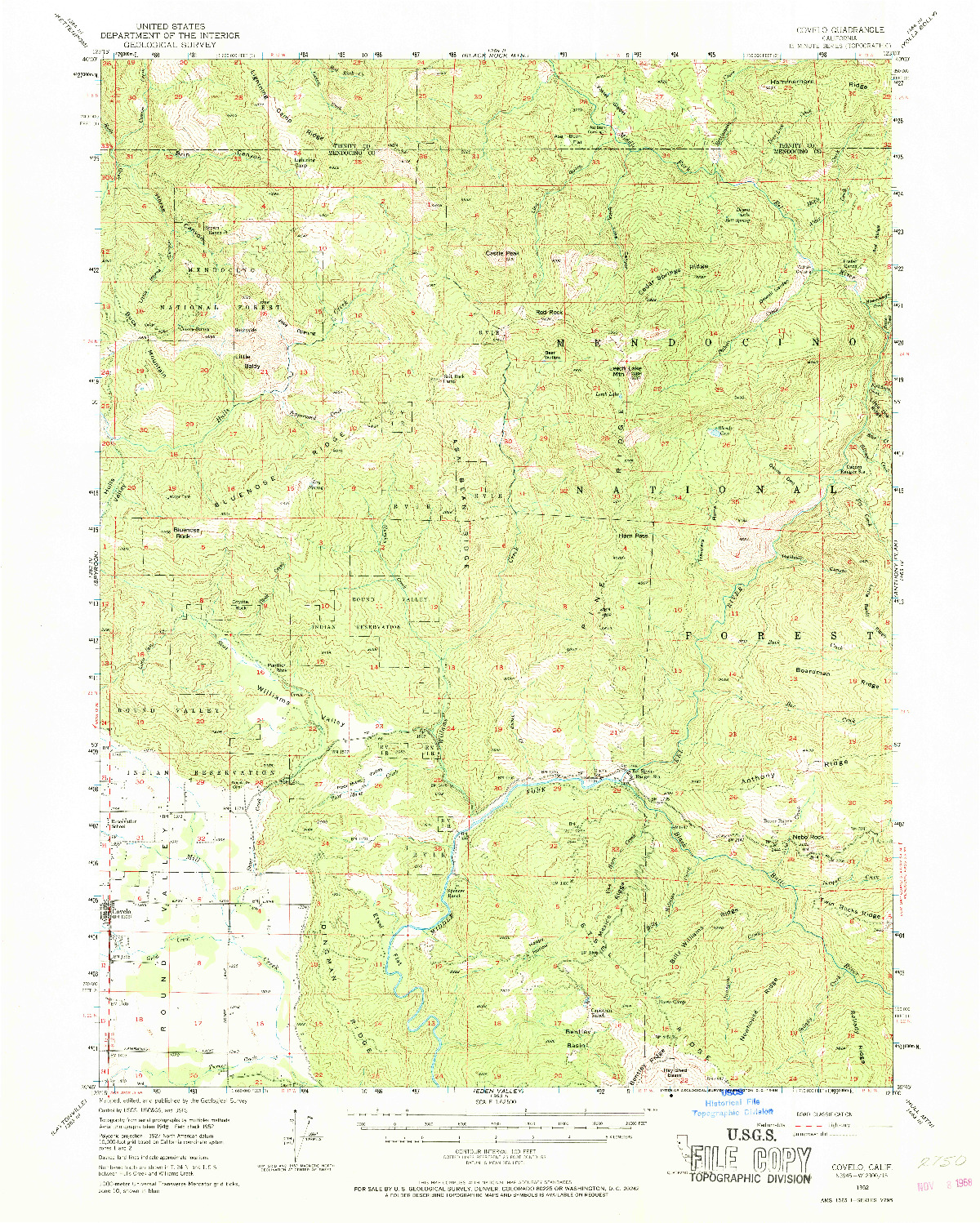 USGS 1:62500-SCALE QUADRANGLE FOR COVELO, CA 1952
