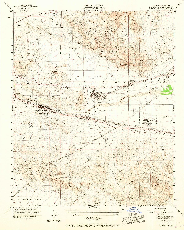 USGS 1:62500-SCALE QUADRANGLE FOR DAGGETT, CA 1956