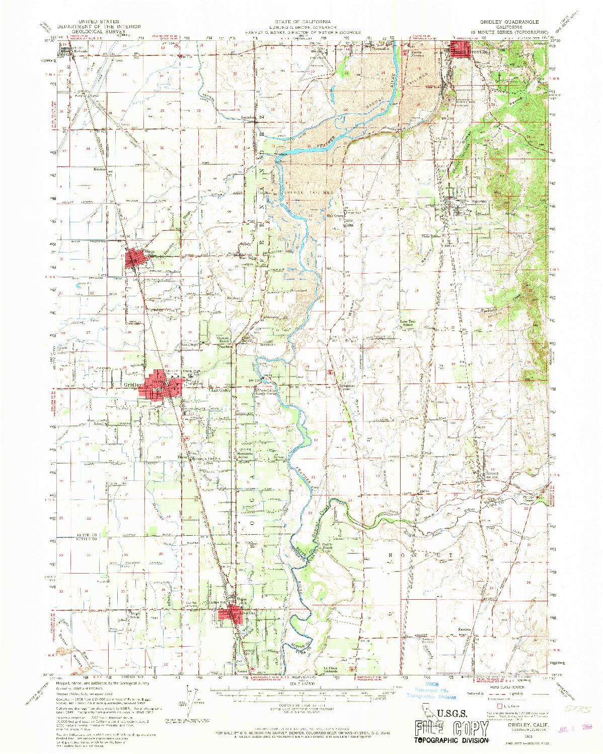 USGS 1:62500-SCALE QUADRANGLE FOR GRIDLEY, CA 1952