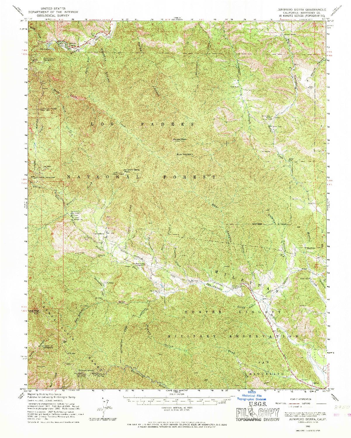 USGS 1:62500-SCALE QUADRANGLE FOR JUNIPERO SERRA, CA 1961