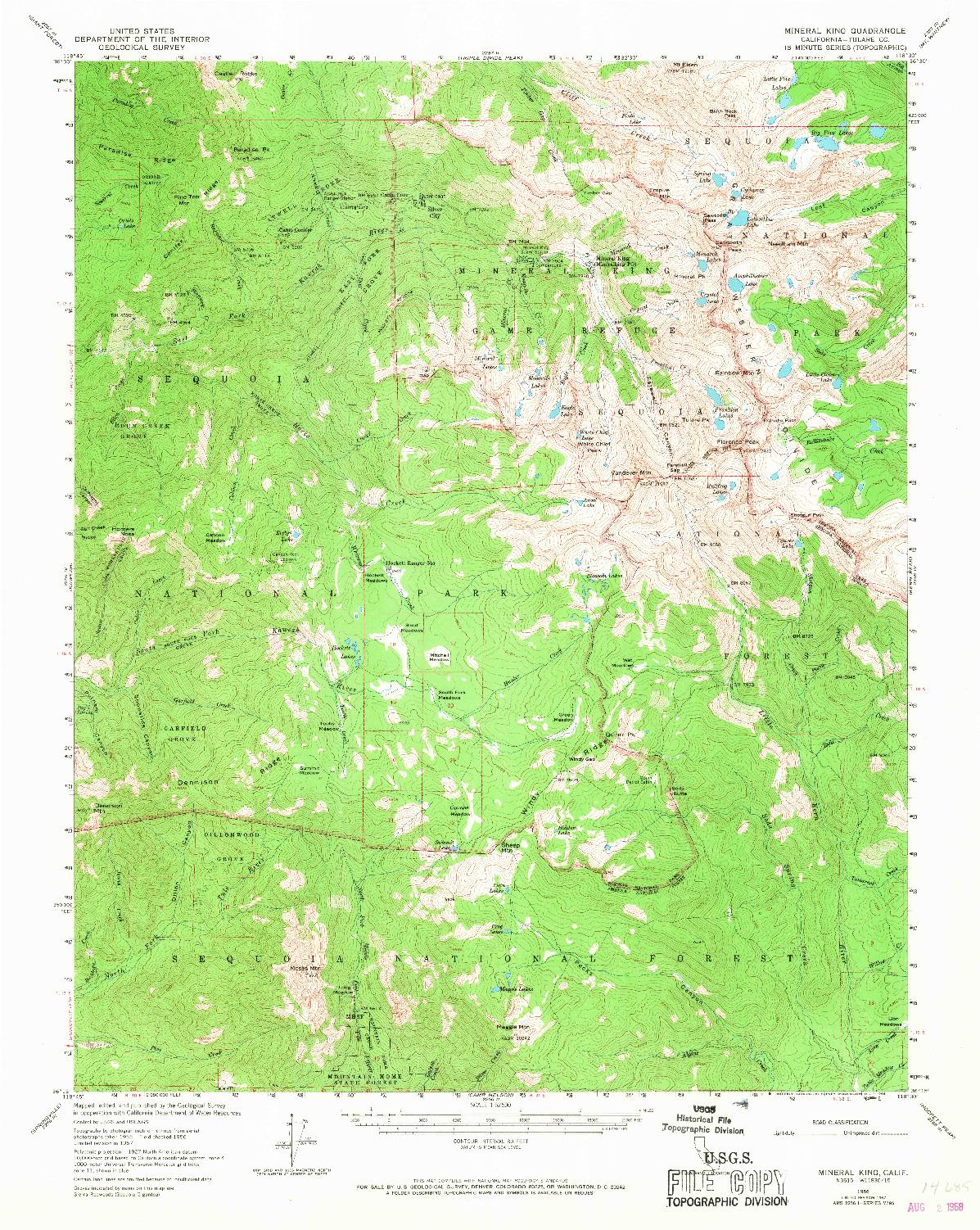 USGS 1:62500-SCALE QUADRANGLE FOR MINERAL KING, CA 1967