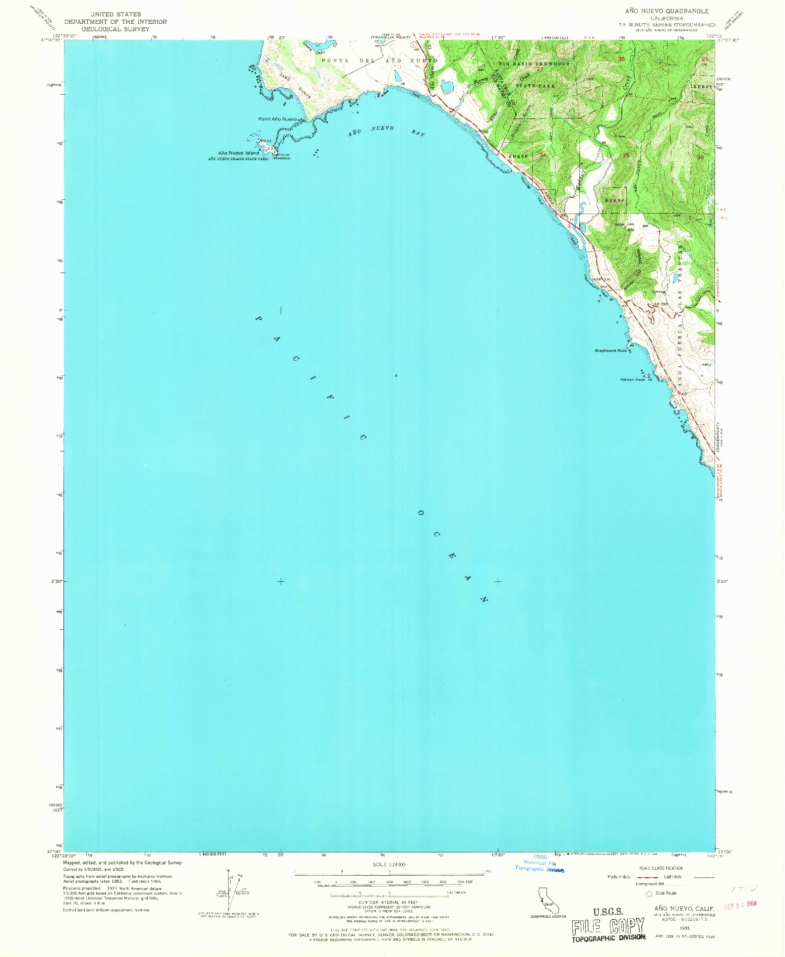 USGS 1:24000-SCALE QUADRANGLE FOR ANO NUEVO, CA 1955