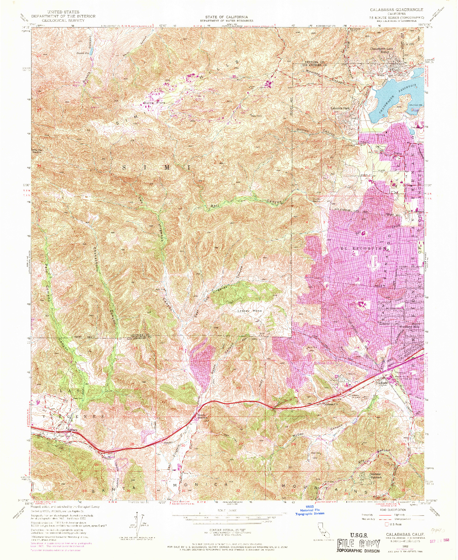 USGS 1:24000-SCALE QUADRANGLE FOR CALABASAS, CA 1952