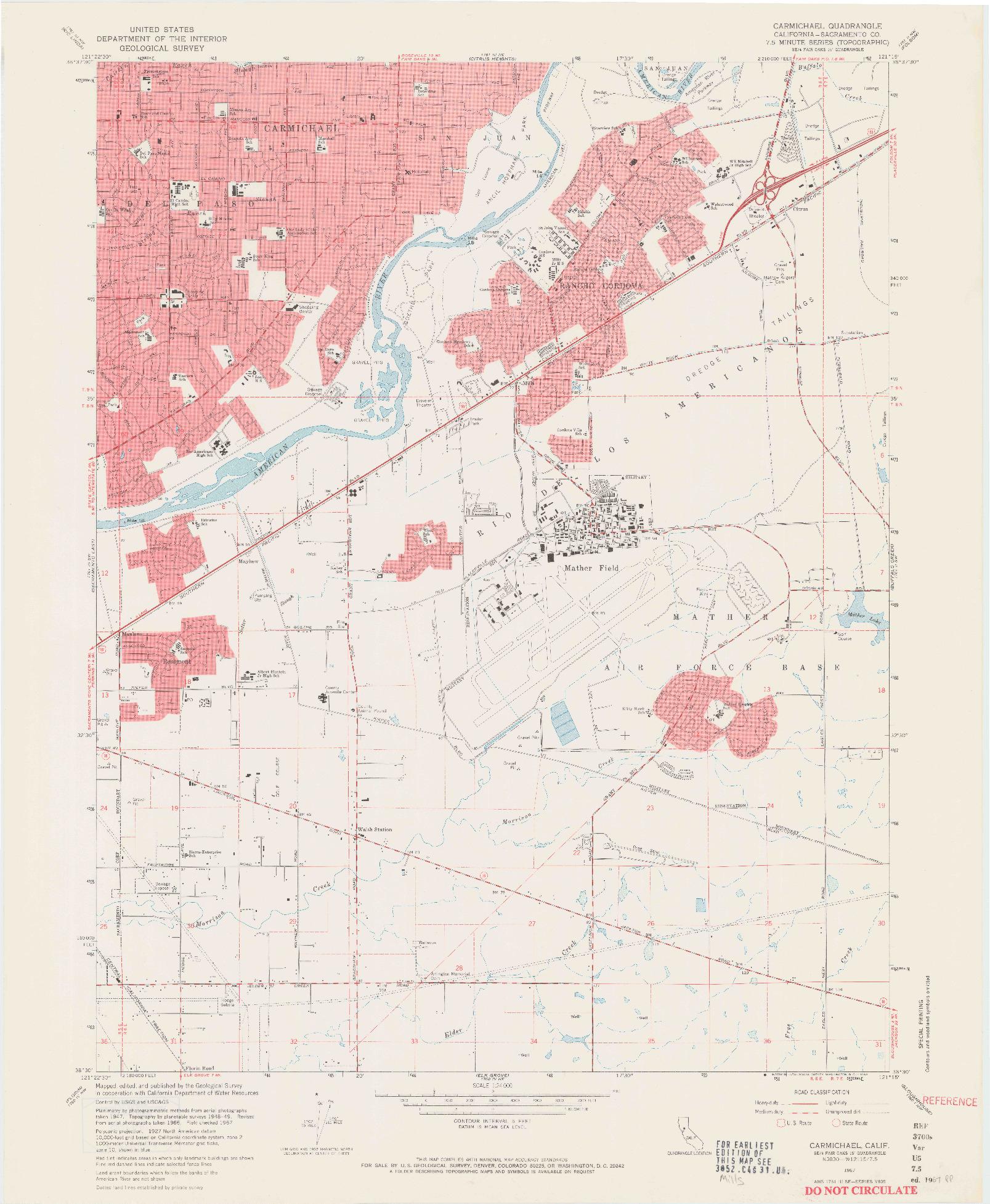 USGS 1:24000-SCALE QUADRANGLE FOR CARMICHAEL, CA 1967