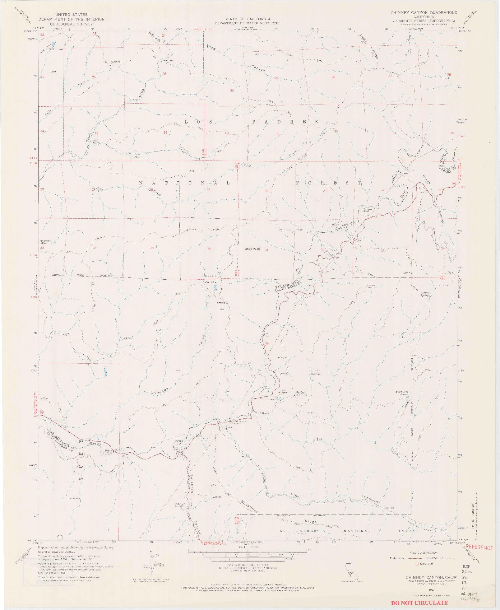 USGS 1:24000-SCALE QUADRANGLE FOR CHIMNEY CANYON, CA 1967