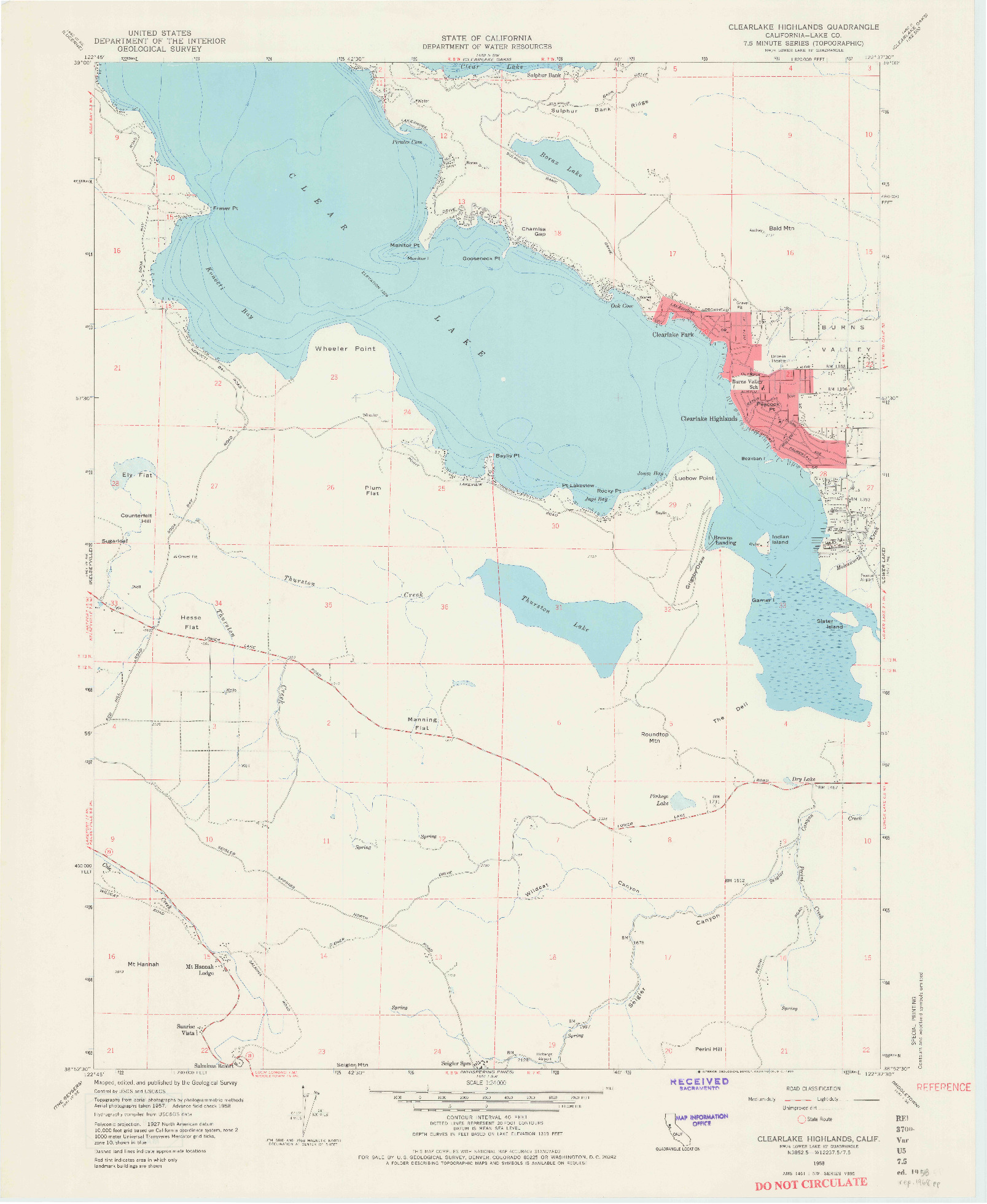 USGS 1:24000-SCALE QUADRANGLE FOR CLEARLAKE HIGHLANDS, CA 1958