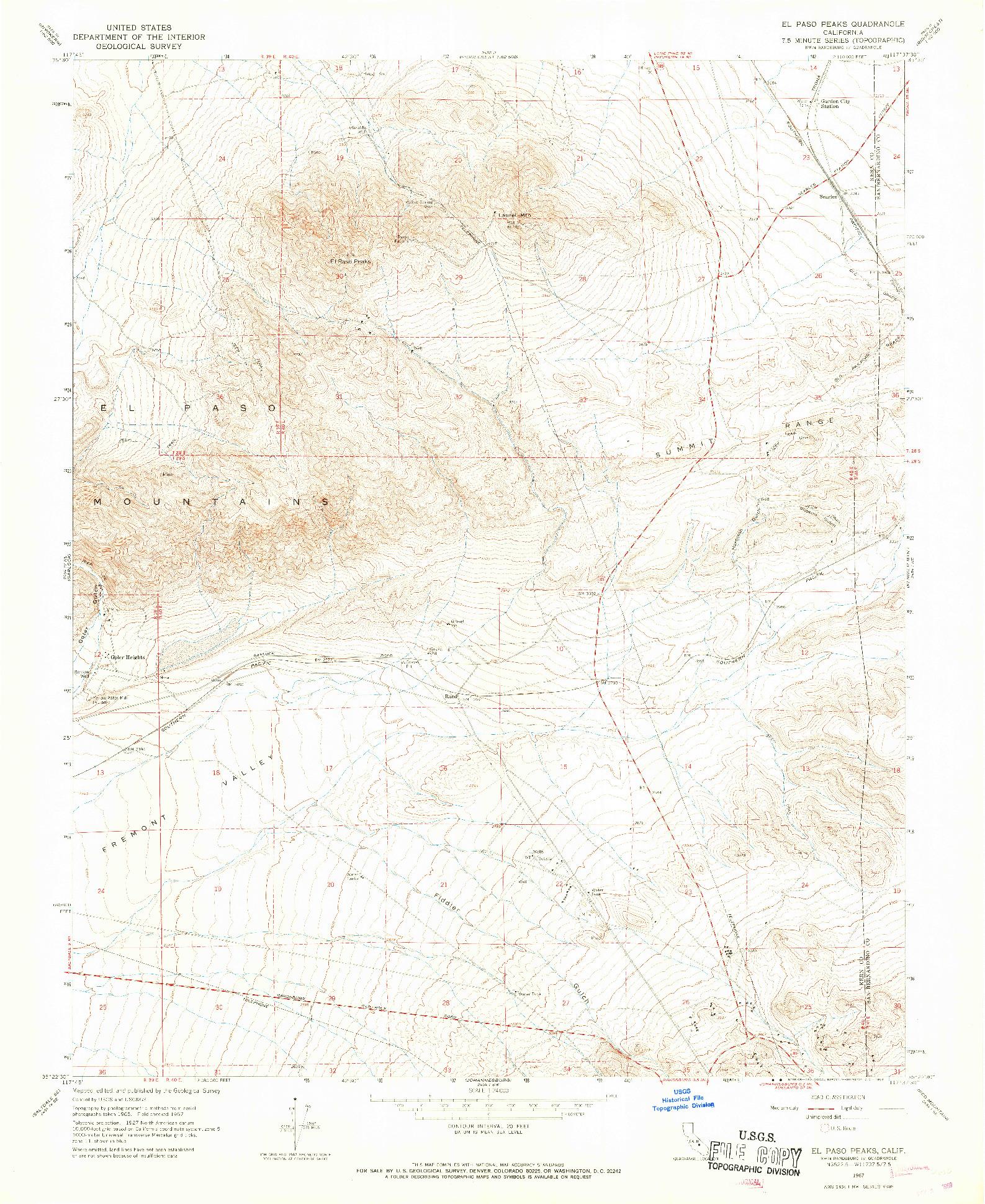 USGS 1:24000-SCALE QUADRANGLE FOR EL PASO PEAKS, CA 1967