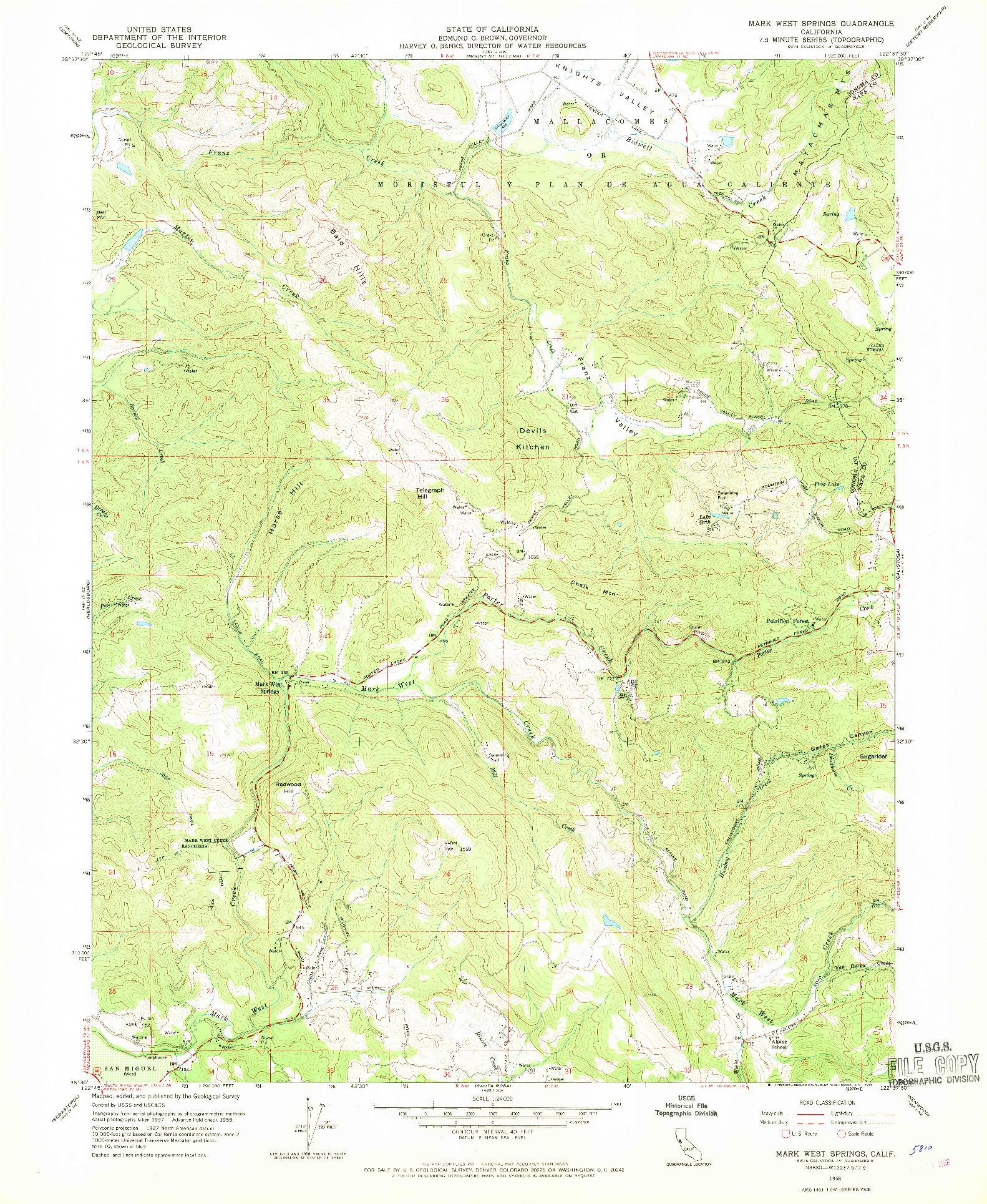 USGS 1:24000-SCALE QUADRANGLE FOR MARK WEST SPRINGS, CA 1958