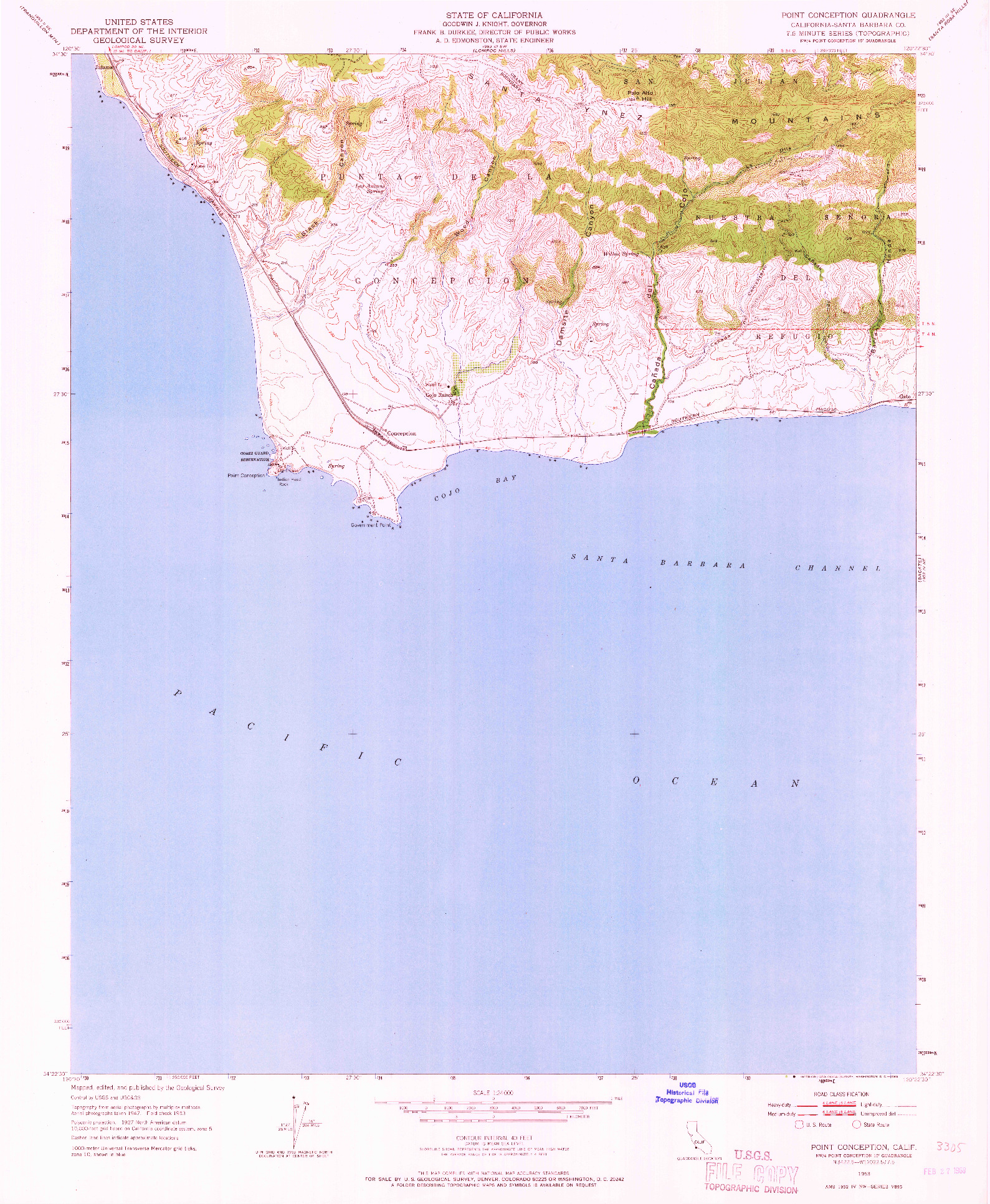 USGS 1:24000-SCALE QUADRANGLE FOR POINT CONCEPTION, CA 1953