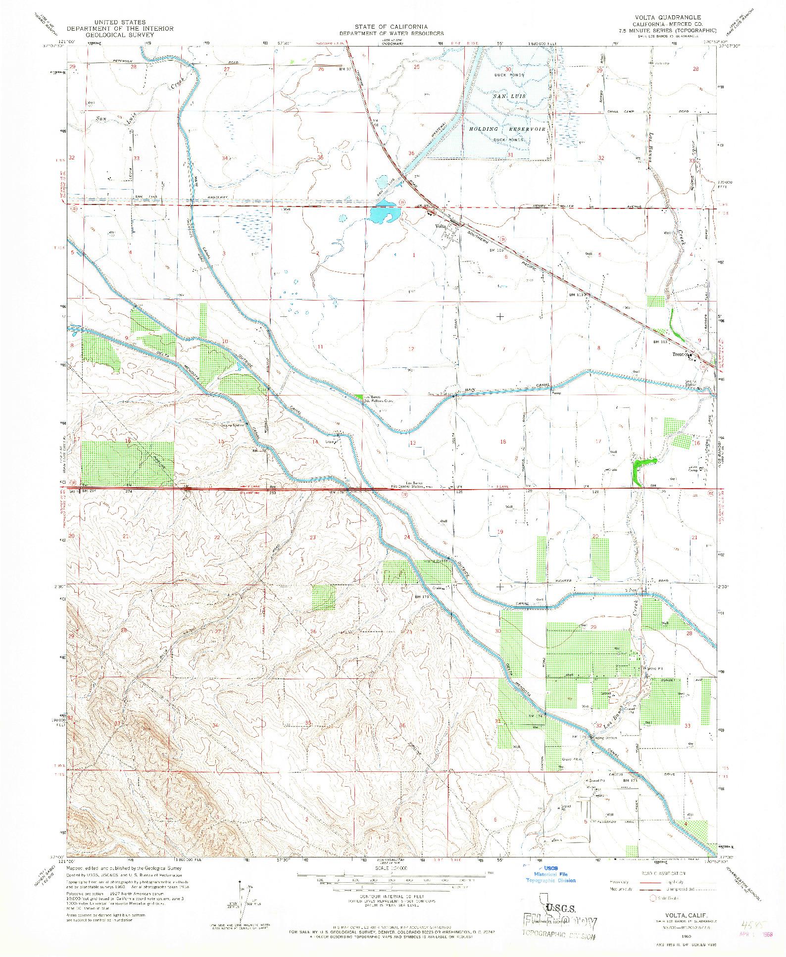 USGS 1:24000-SCALE QUADRANGLE FOR VOLTA, CA 1960