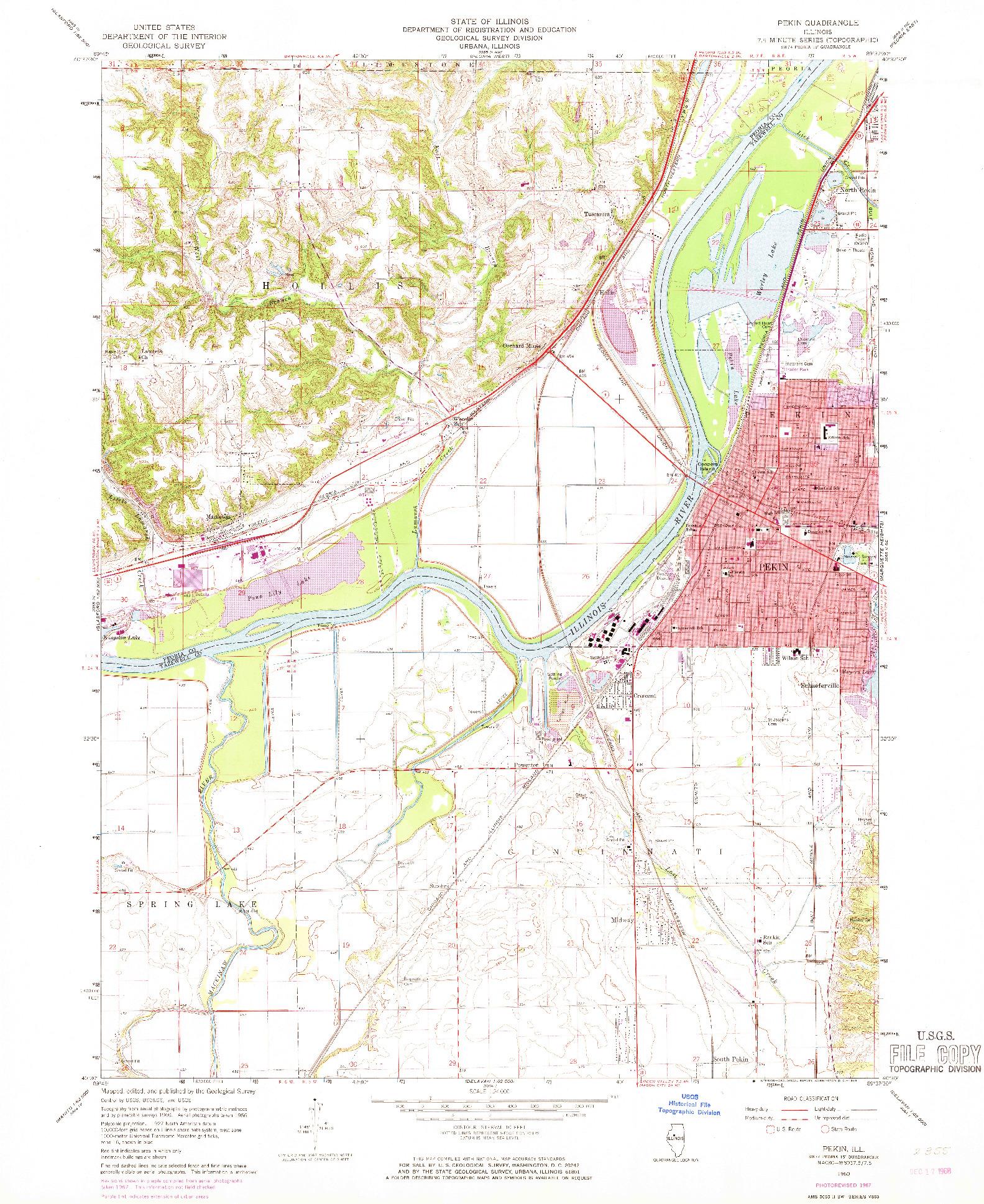 USGS 1:24000-SCALE QUADRANGLE FOR PEKIN, IL 1960