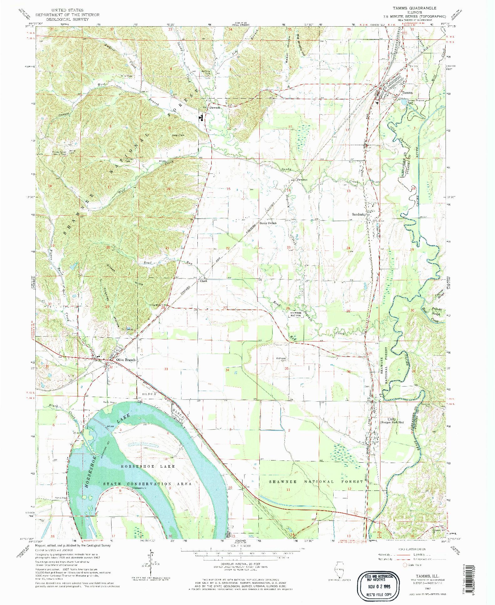 USGS 1:24000-SCALE QUADRANGLE FOR TAMMS, IL 1967