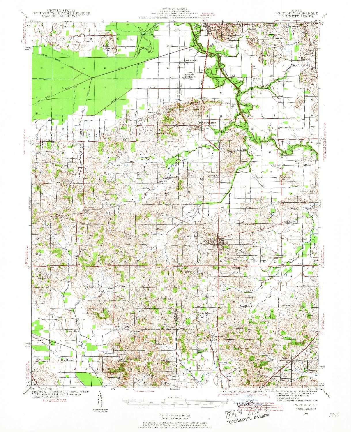 USGS 1:62500-SCALE QUADRANGLE FOR ENFIELD, IL 1941