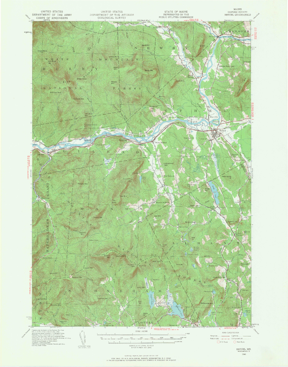USGS 1:62500-SCALE QUADRANGLE FOR BETHEL, ME 1940