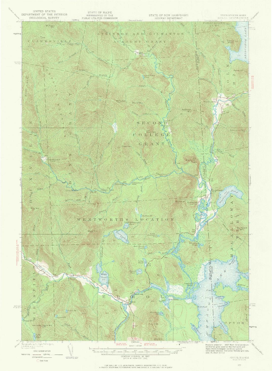 USGS 1:62500-SCALE QUADRANGLE FOR ERROL, ME 1930