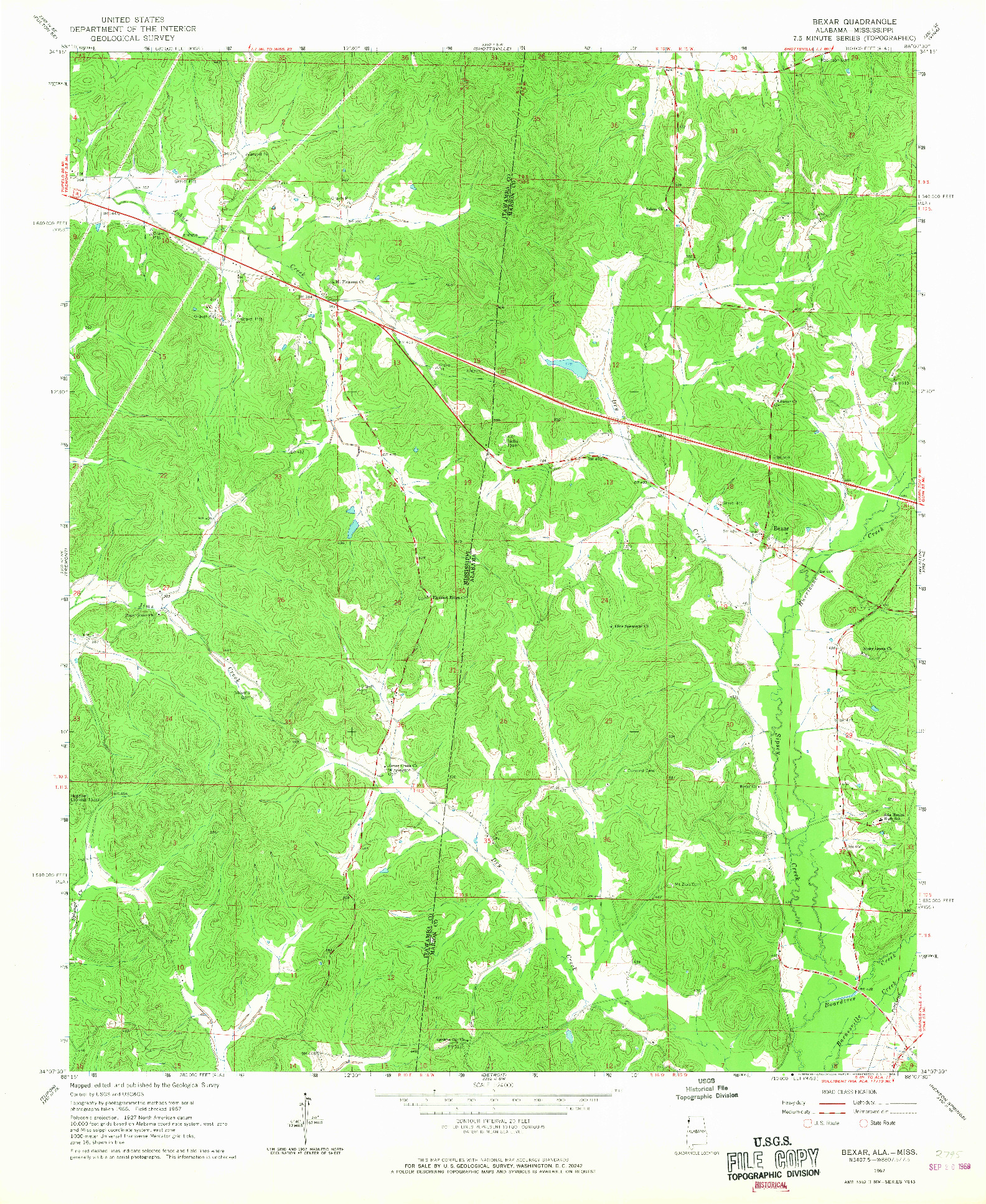 USGS 1:24000-SCALE QUADRANGLE FOR BEXAR, AL 1967