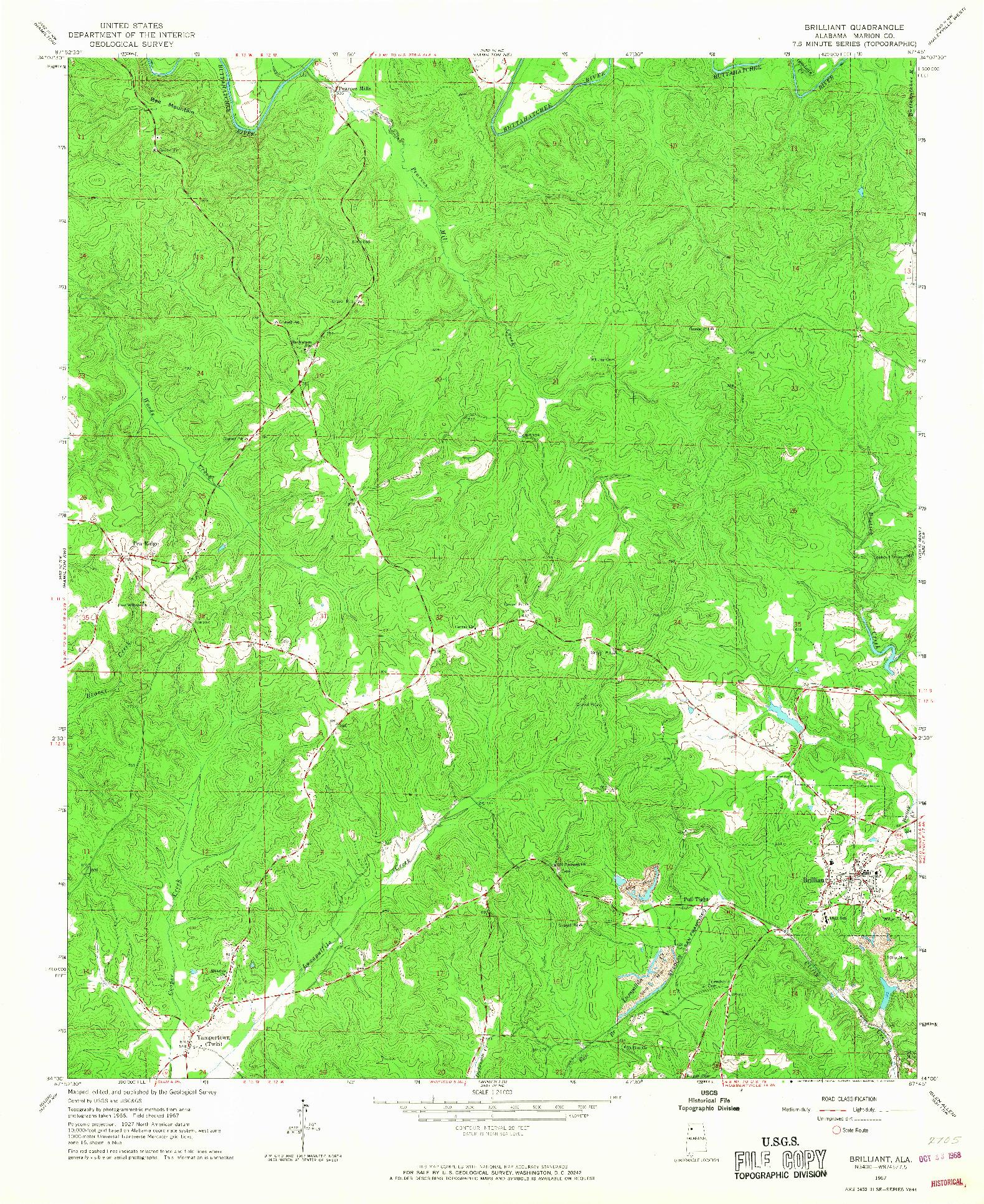 USGS 1:24000-SCALE QUADRANGLE FOR BRILLIANT, AL 1967
